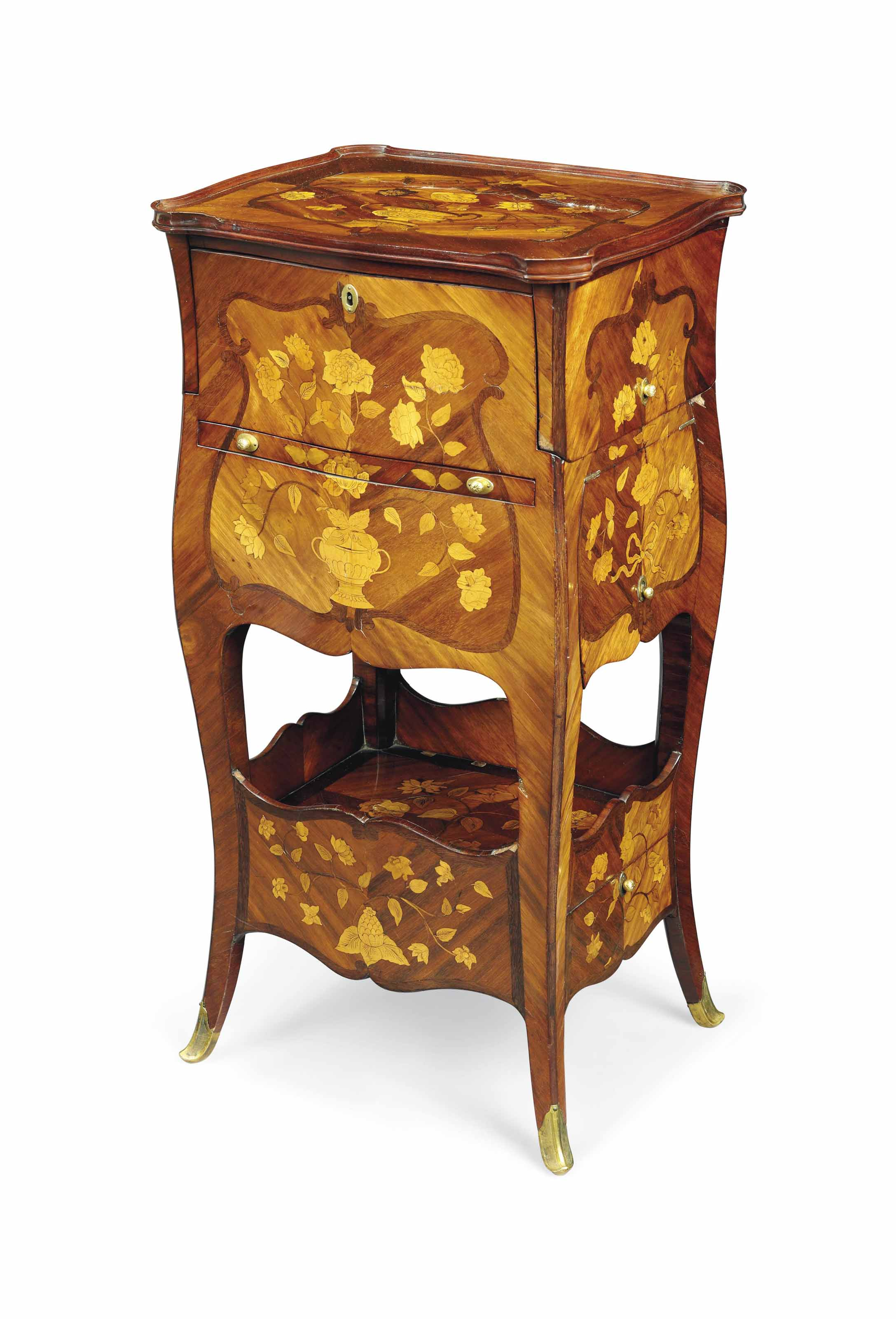 A LOUIS XV BOIS SATINÉ, AMARANTH, FRUITWOOD AND FLORAL MARQUETRY TABLE 'A TRANSFORMATION'