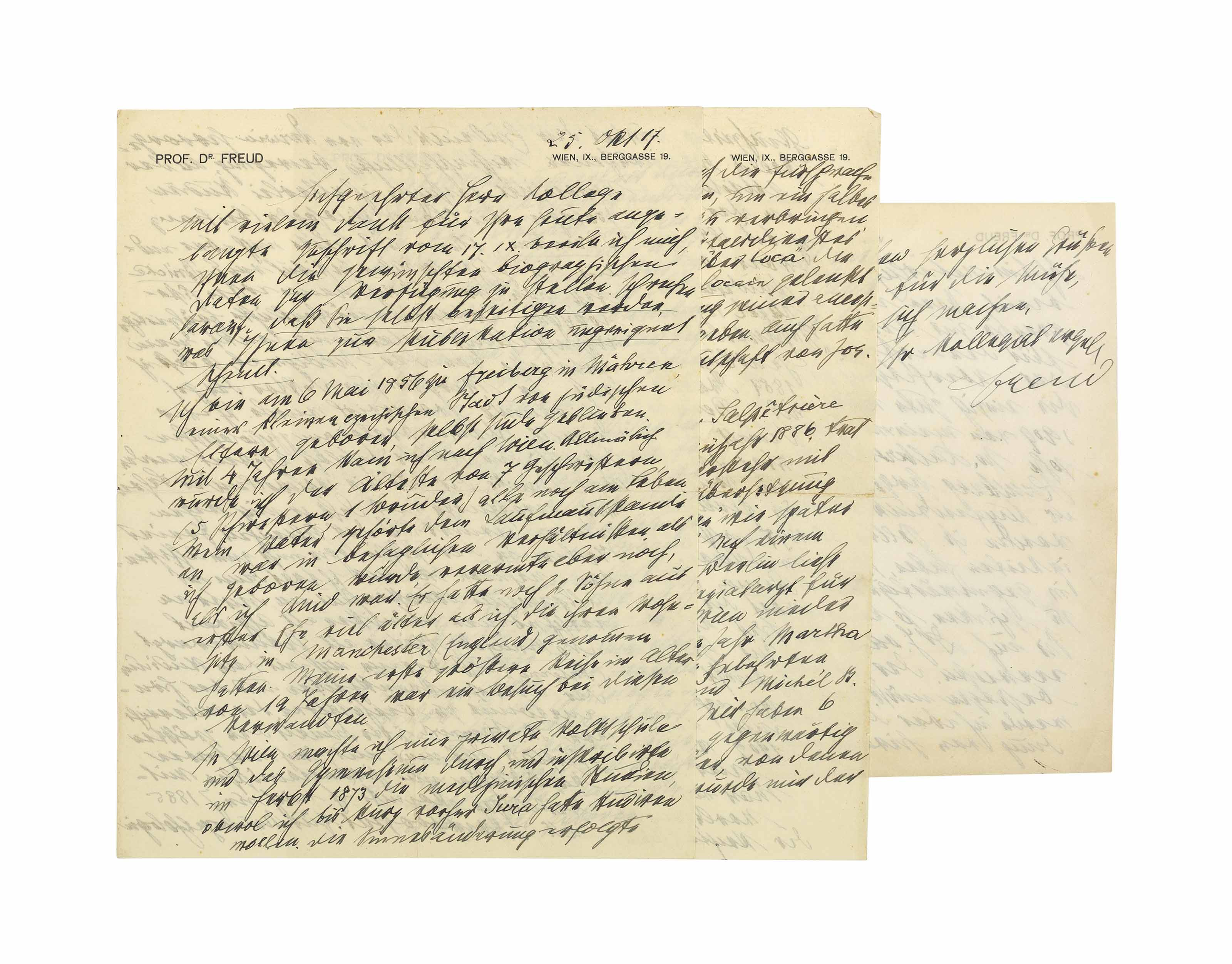 FREUD, Sigmund (1856-1939). Two autograph letters signed ('Freud') to Dr Albert Willem van Renterghem, 19 Berggasse, Vienna, 17 January and 25 October 1917, in German, the first 1½ pages, folio, annotated with an interlinear transliteration (?by the recipient), the second 4 pages, folio, and 1½ pages, 8vo, envelope; with a typed transcription of the second letter, a retained copy of van Renterghem's letter to Freud of 21 December 1916, and a printed edition of van Renterghem's Dutch translation of Freud's Introduction to Psychoanalysis (Amsterdam, 1918), in 2 volumes, 8vo.