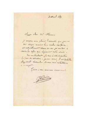 GAUGUIN Paul 1848 1903 Autograph Letter Signed P