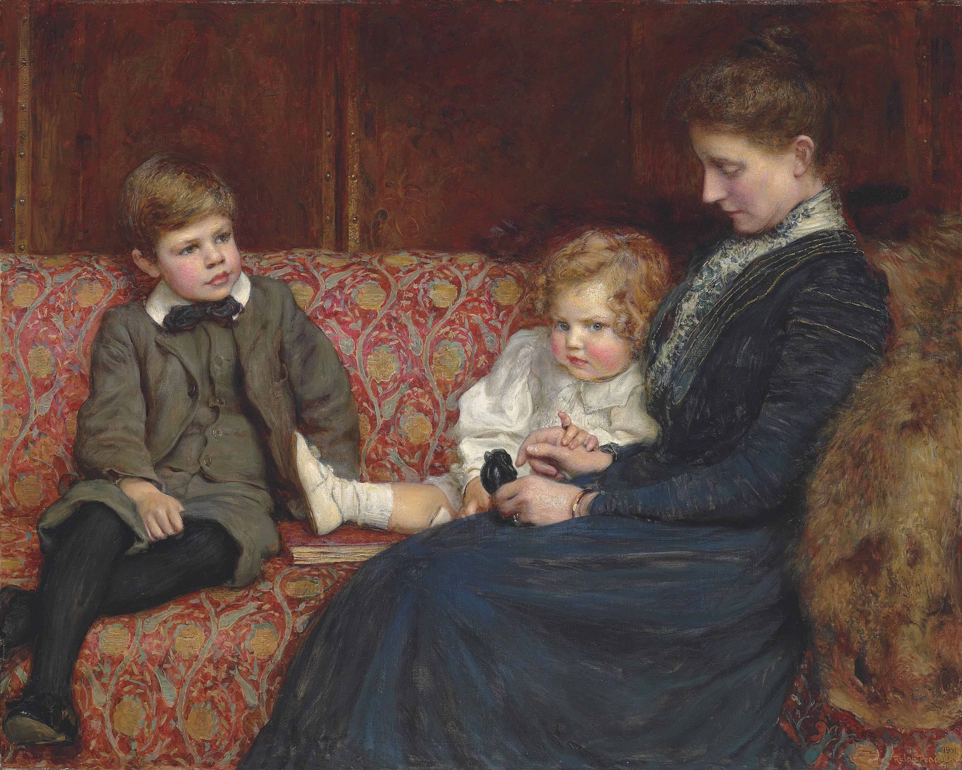 Portrait of Mrs Evelyn Mary Agnew, neé Naylor, wife of (Charles) Morland Agnew (1855-1931), with two of their children