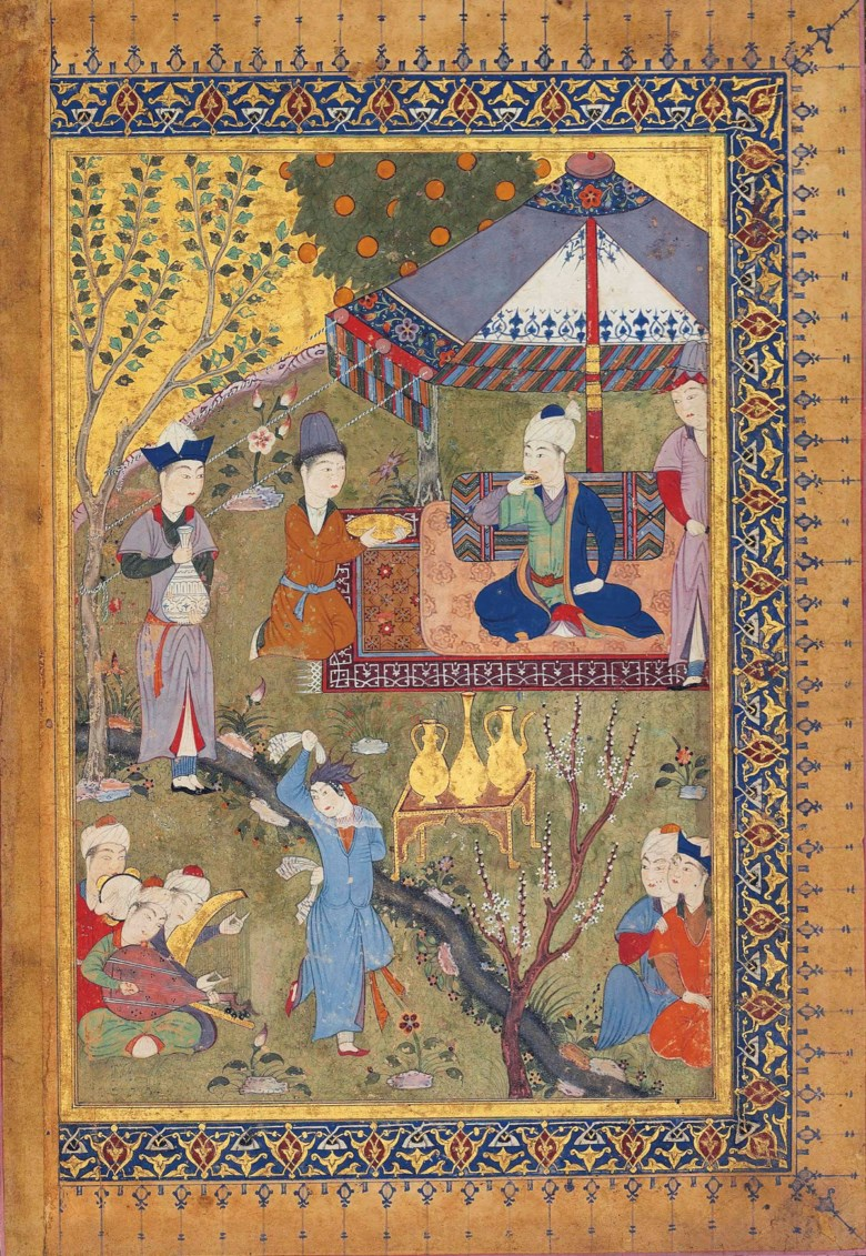 The Court of Pir Bbudaq, Shiraz, Iran circa 1455-60. Painting 7 x 4⅝ in (17.5 x 11.6 cm); folio 15⅜ x 13⅛ in (39 x 34 cm). Sold for £433,875 on 25 April 2013  at Christie's in London