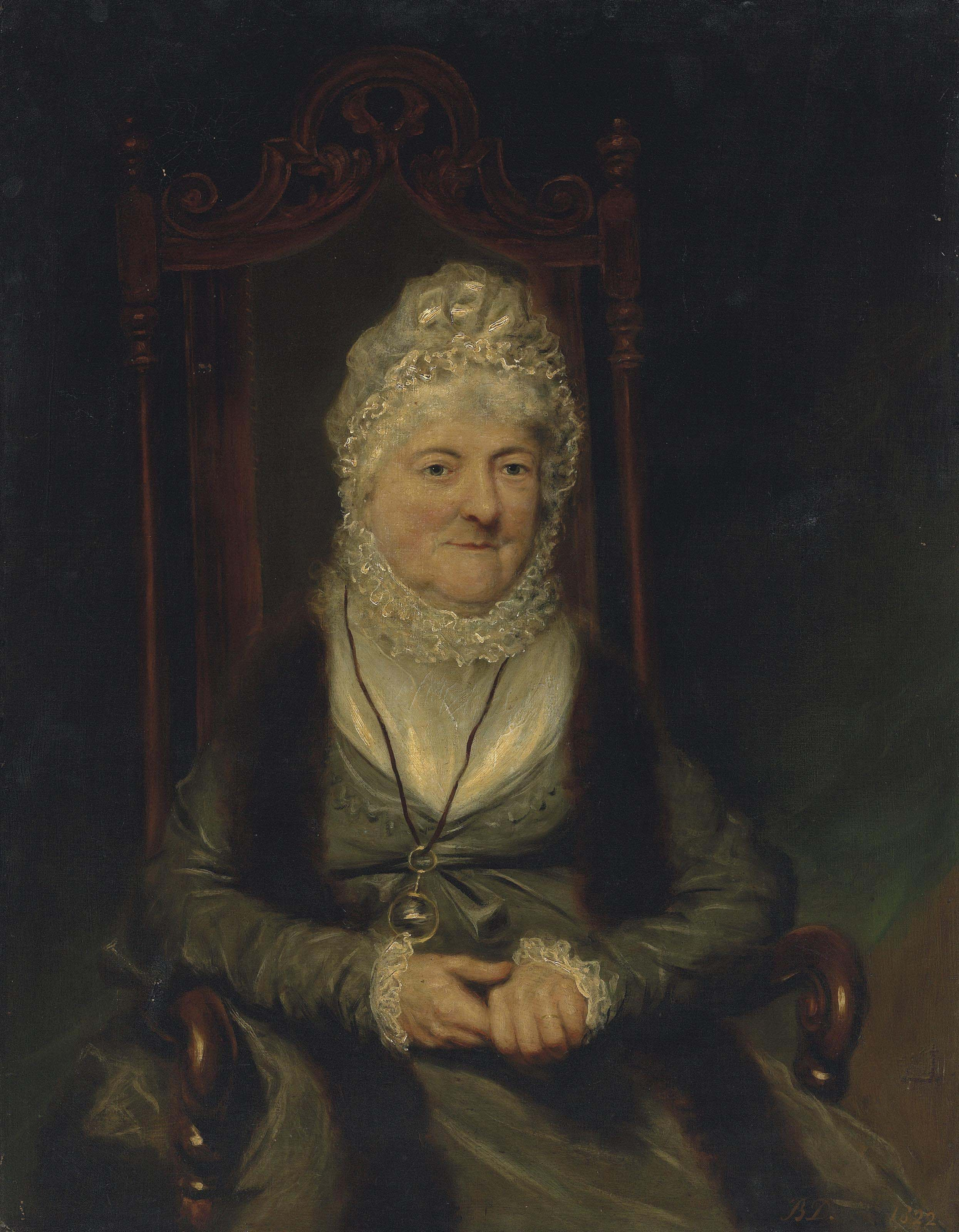 Portrait of a lady, seated half length, wearing a green dress and a ribbon bonnet with a looking glass
