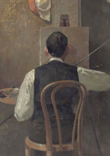 John Mather (1848-1916), The Artist at His Easel (Louis Abrahams). 13⅞ x 9⅞ in (35.3 x 25.1 cm). Sold for £25,000 on 26 September 2013  at Christie's in London