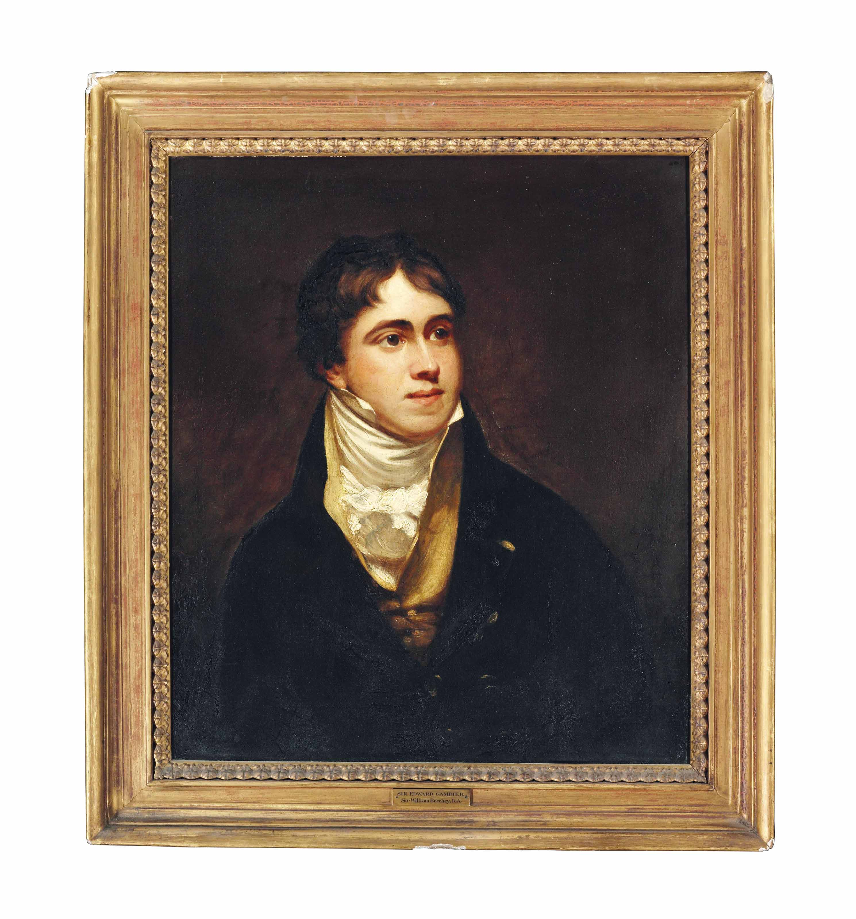 Portrait of Sir Edward Gambier (1794-1879), half-length, in a black coat, buff waistcoat and white stock