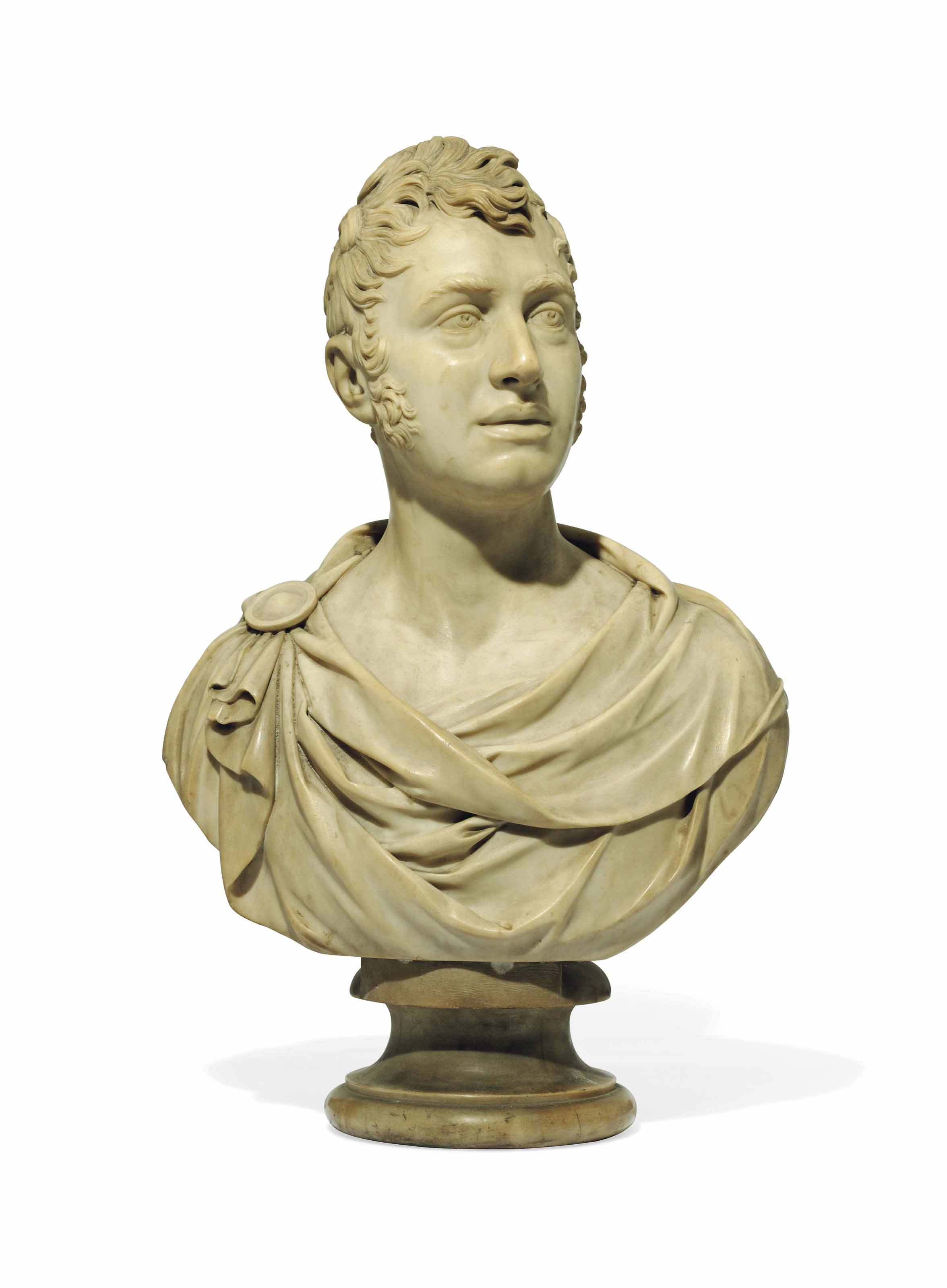 A CARVED MARBLE BUST OF A MAN, PROBABLY LORD GRANVILLE LEVESON-GOWER