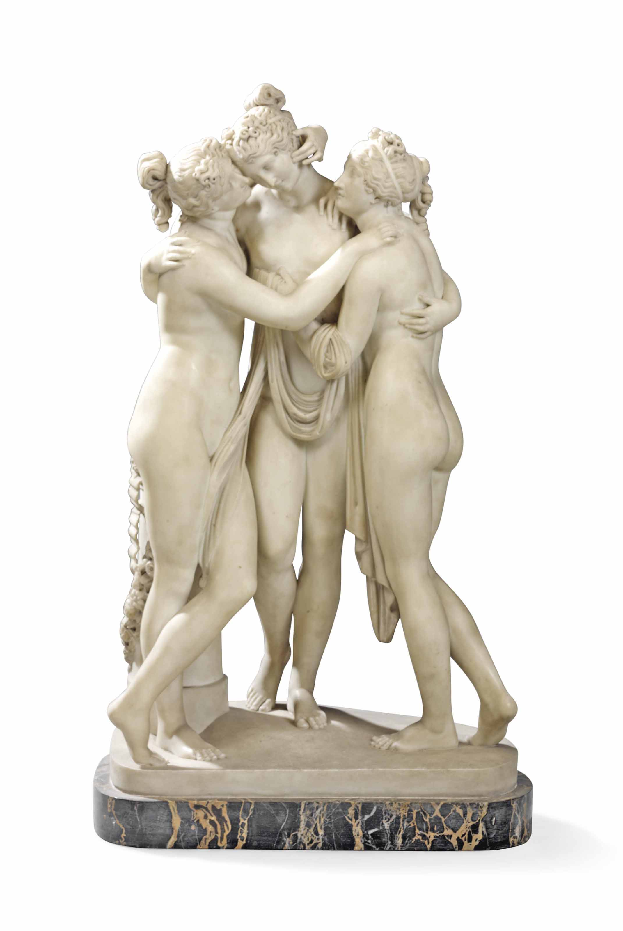 A CARVED MARBLE GROUP OF THE THREE GRACES