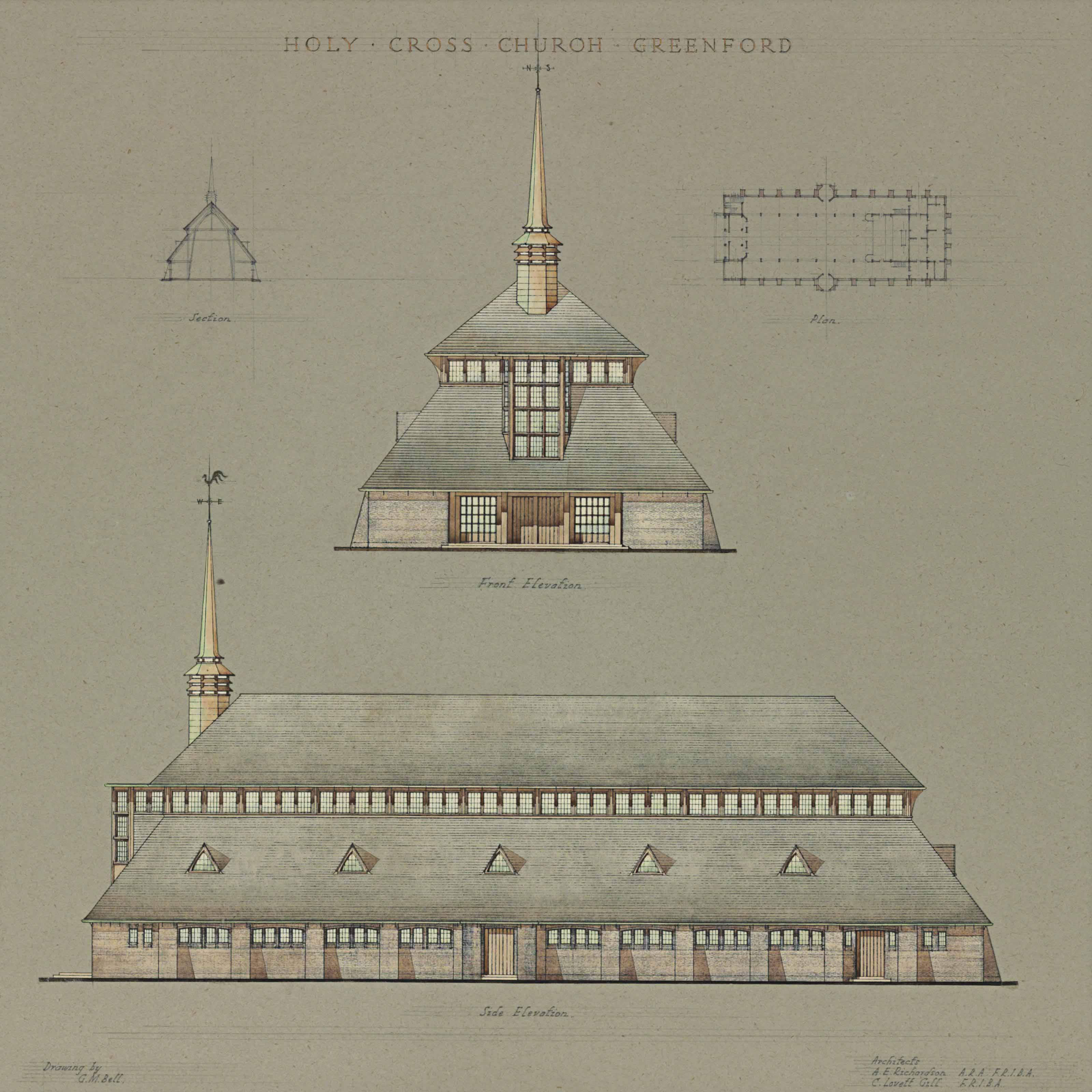 Design for the Holy Church, Greenford, Middlesex, London; and A Design for the reredos at St Peter's Church, Harrow, 1944