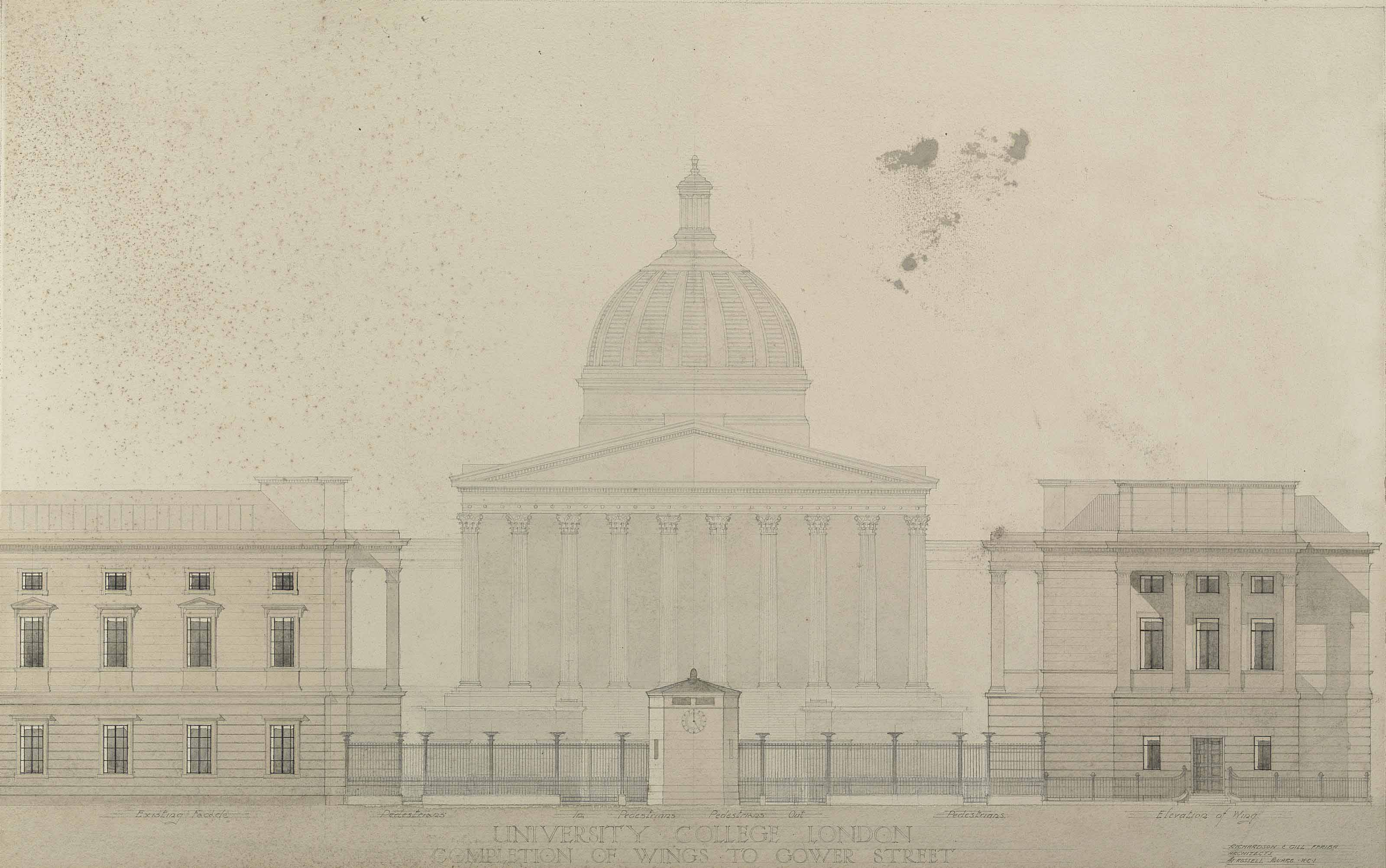 Design for University College London, Completion of Wings to Gower Street (illustrated); and  A watercolour of Darwin Building, University College London