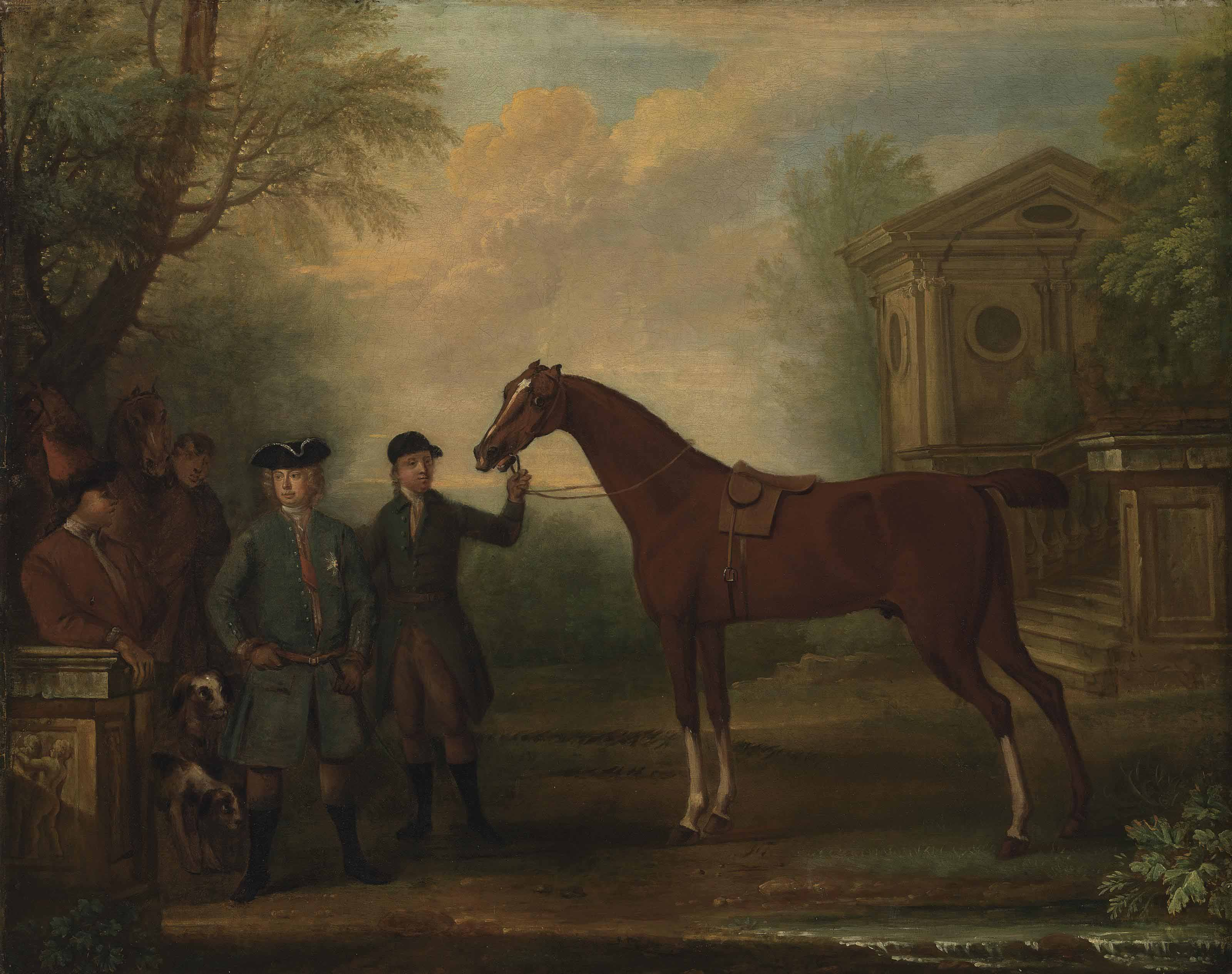 Sir Robert Walpole, 1st Earl of Orford (1676-1745), with a groom holding a bay hunter, other figures, horses and hounds, in a landscape, with a classical building beyond