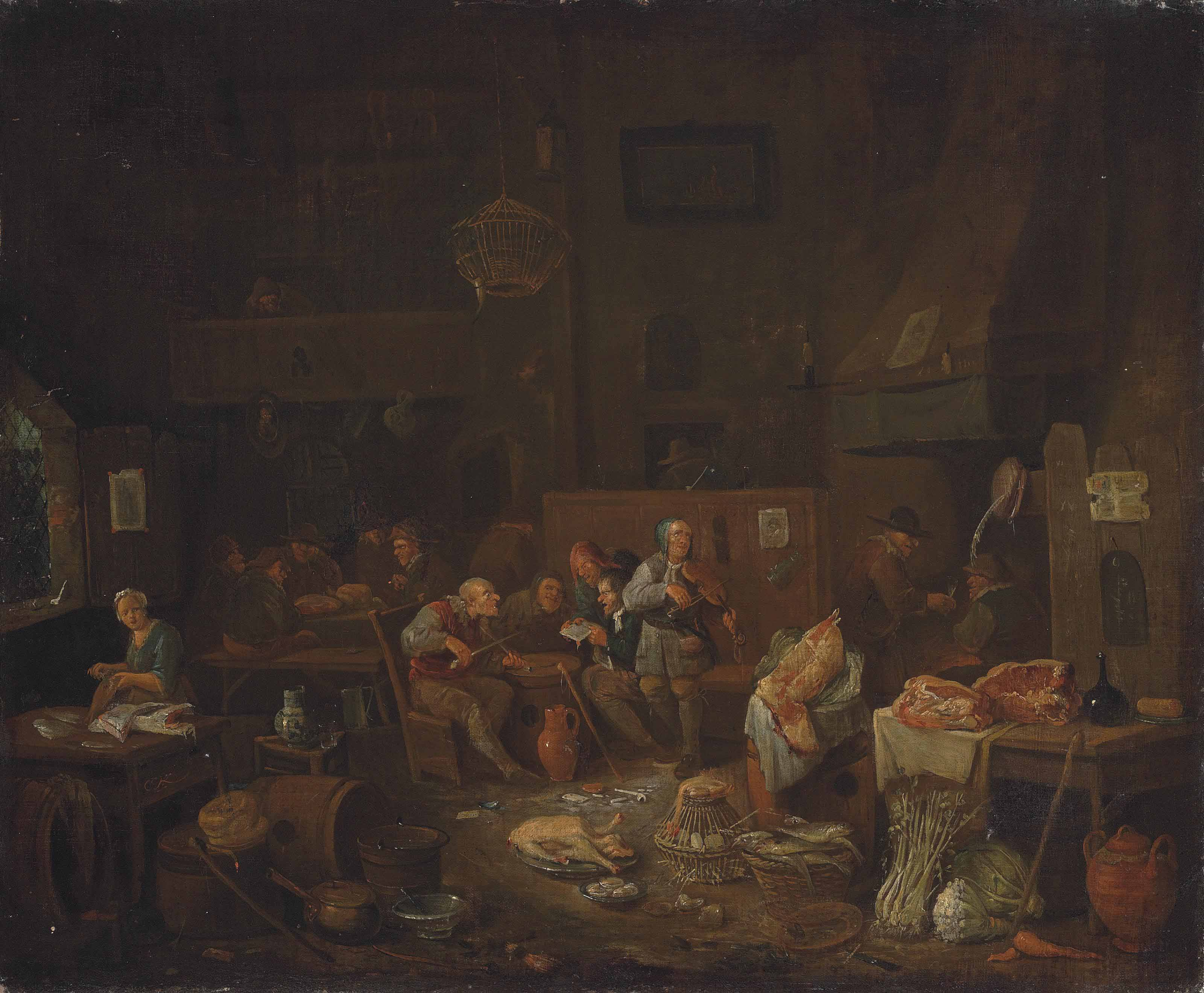 Peasants smoking and making merry in a kitchen interior