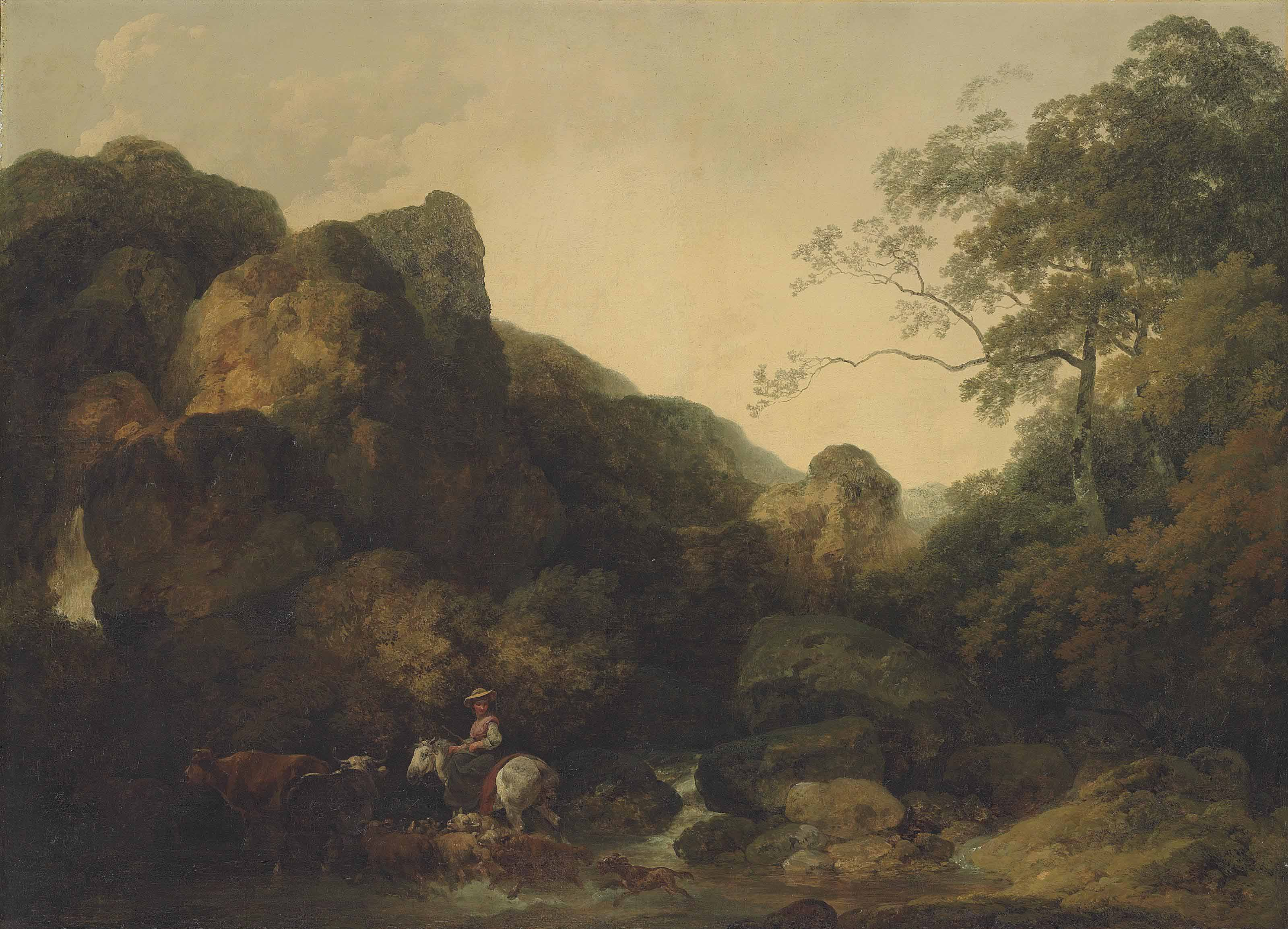 A rocky wooded landscape with a shepherdess on horseback crossing a river