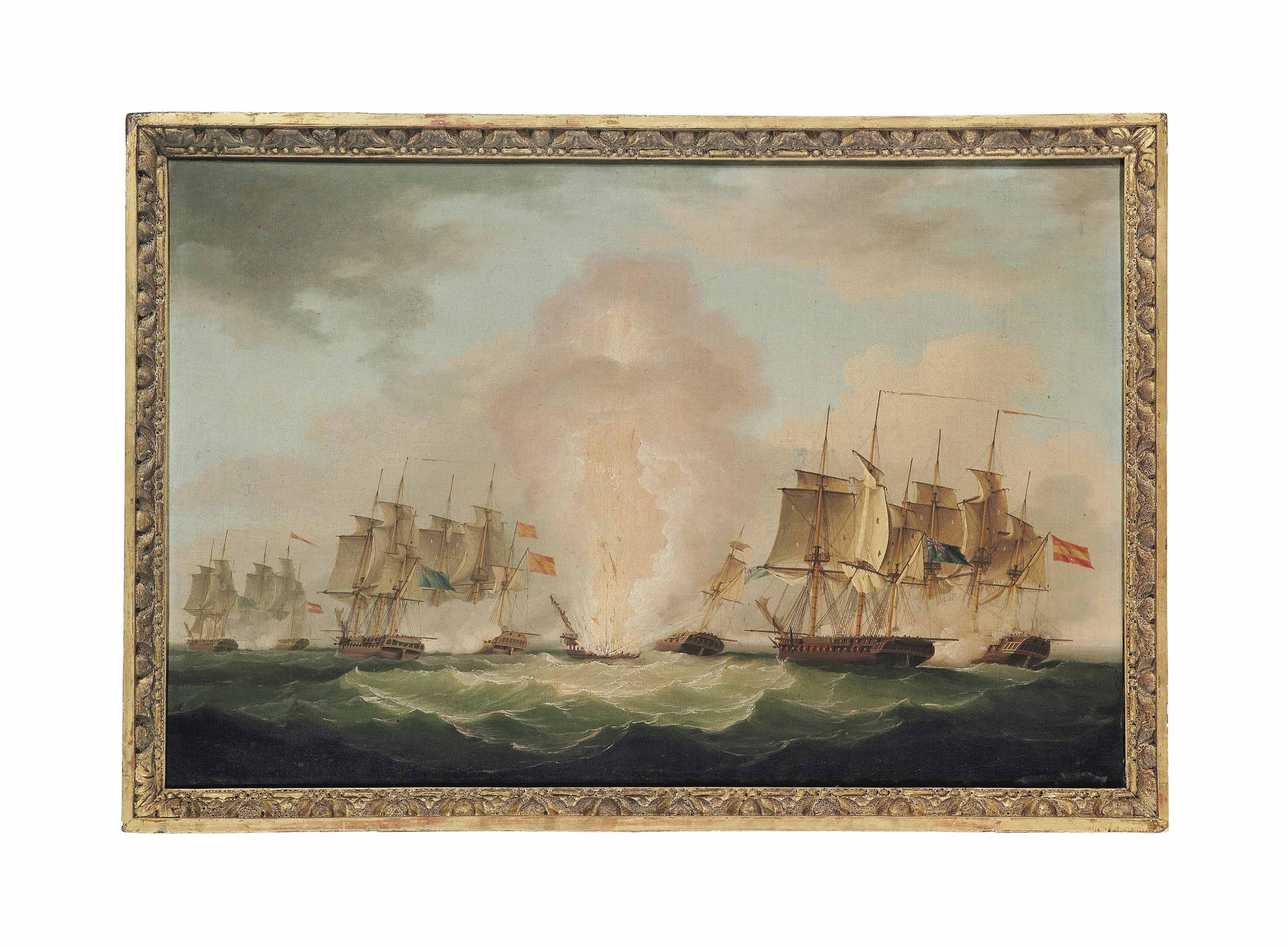 The blowing up of the Spanish Frigate Mercedes at the Battle of Cape Santa Maria, 1804