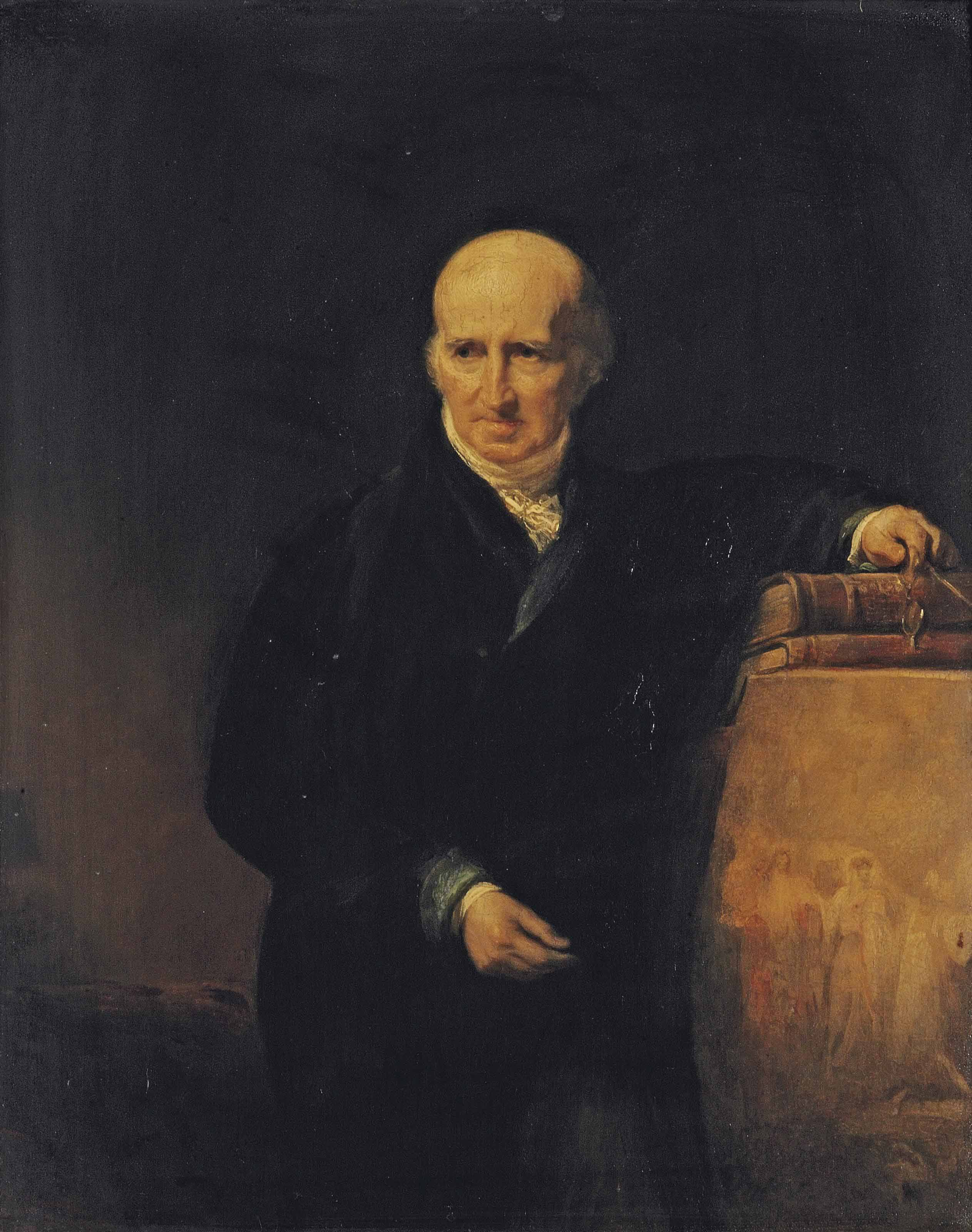 Portrait of Benjamin West P.R.A (1738-1820), half-length, in a black coat, his left hand resting on some books, a pair of spectacles in his right hand, beside a sketch of Christ Rejected