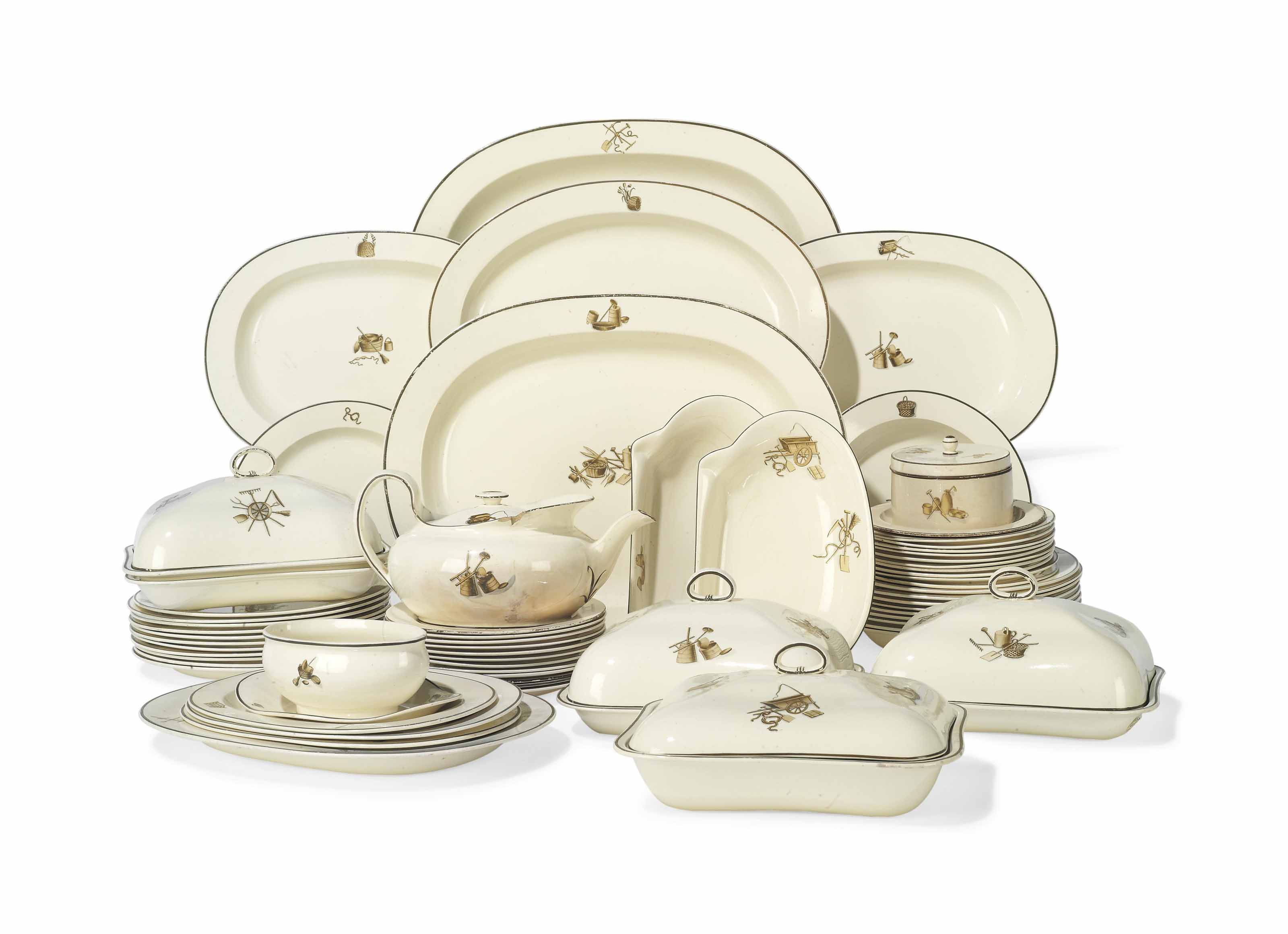 A WEDGWOOD QUEEN'S WARE 'AGRICULTURAL DEVICES' PART DINNER-SERVICE