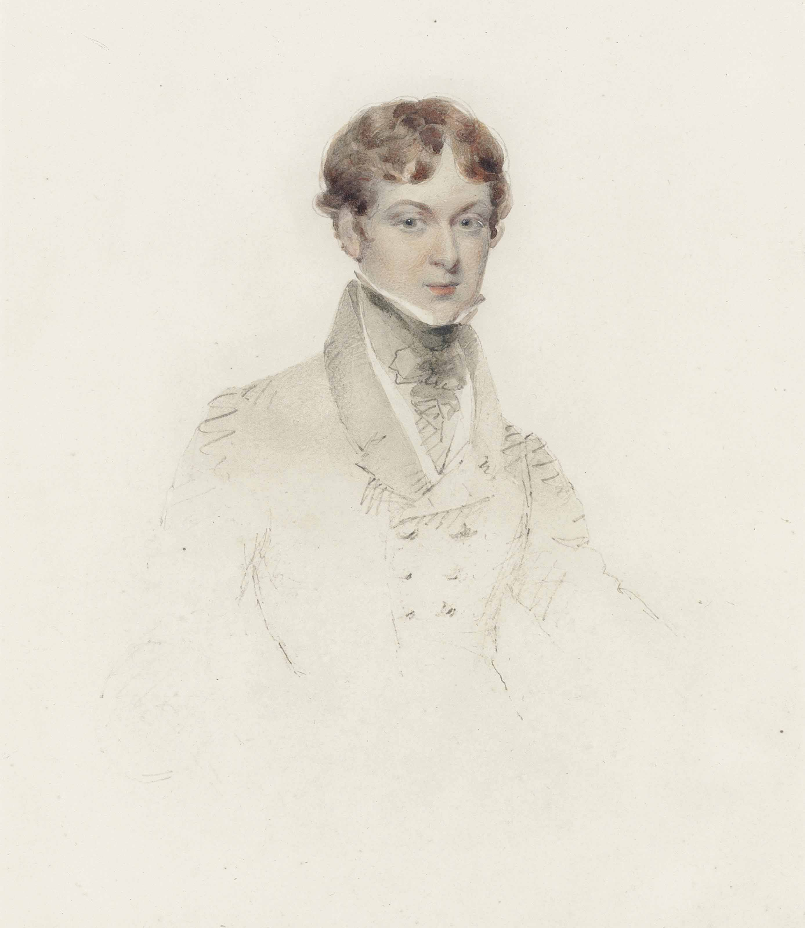 Traditionally identified as a portrait of Charles Dickens as a young man, aged 16, head and shoulders, in a grey coat