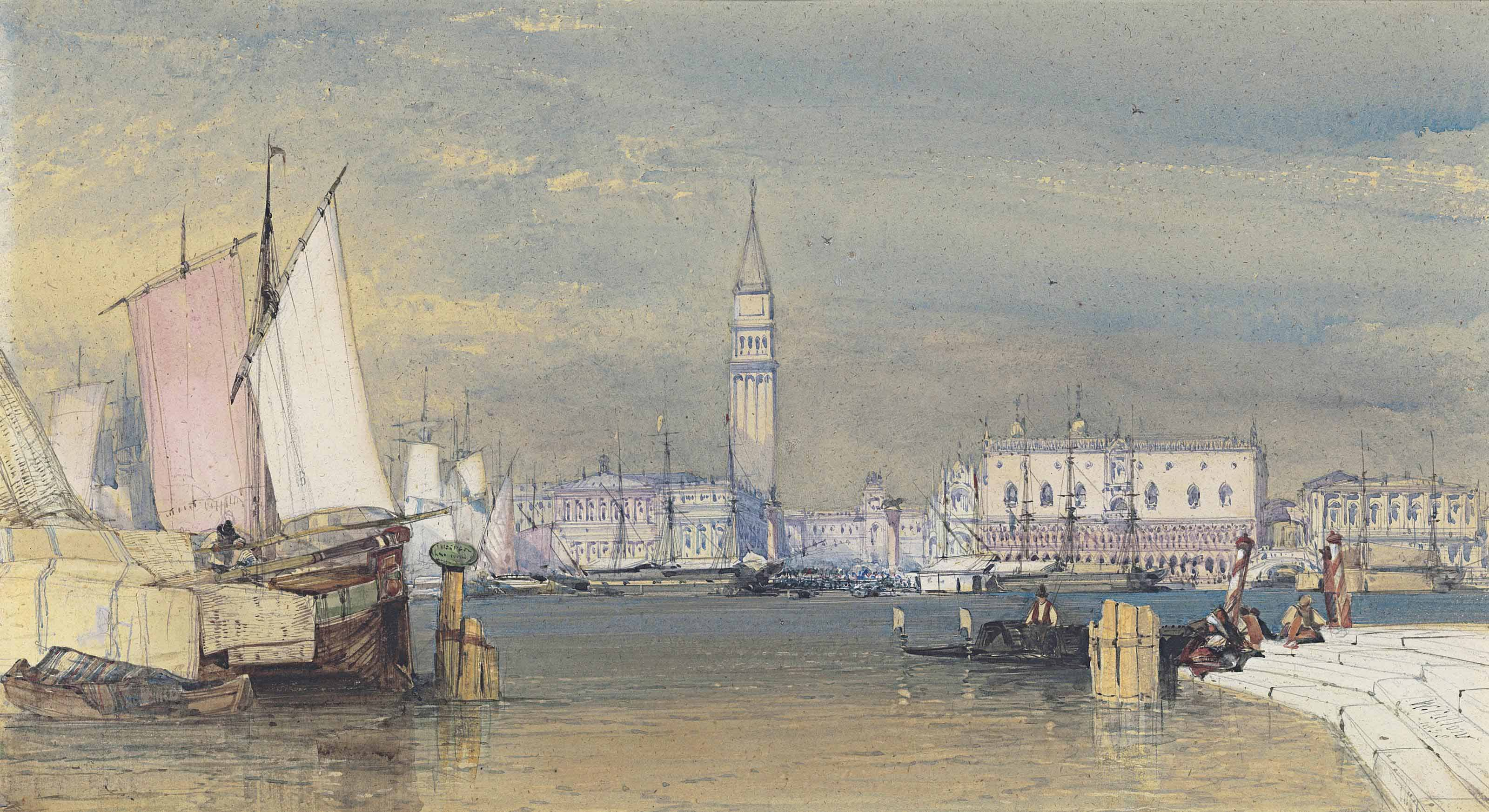 Venice, the Bacino, looking towards the Doge's Palace and the Piazzetta San Marco
