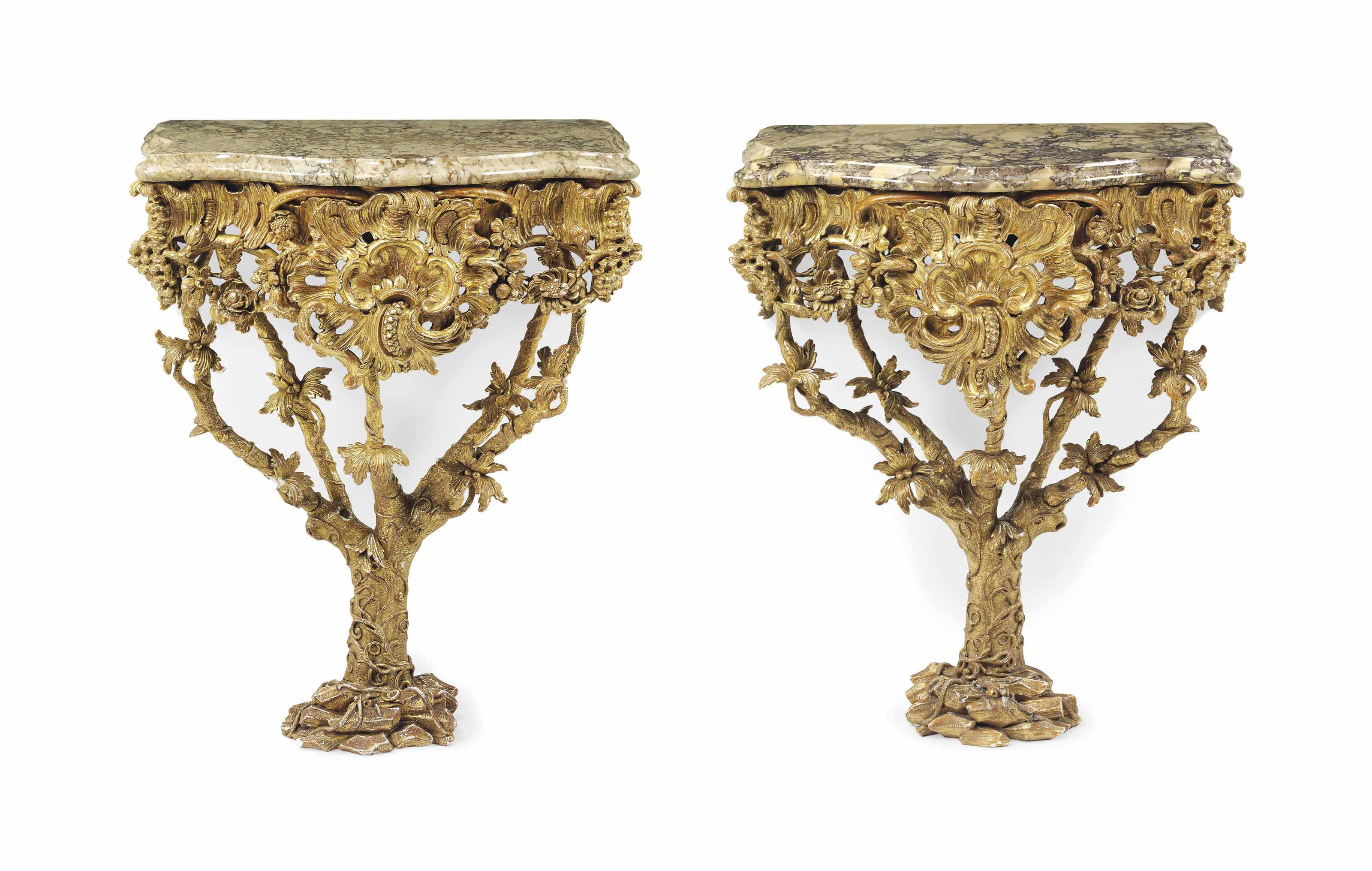 A PAIR OF GEORGE II GILTWOOD CONSOLE TABLES