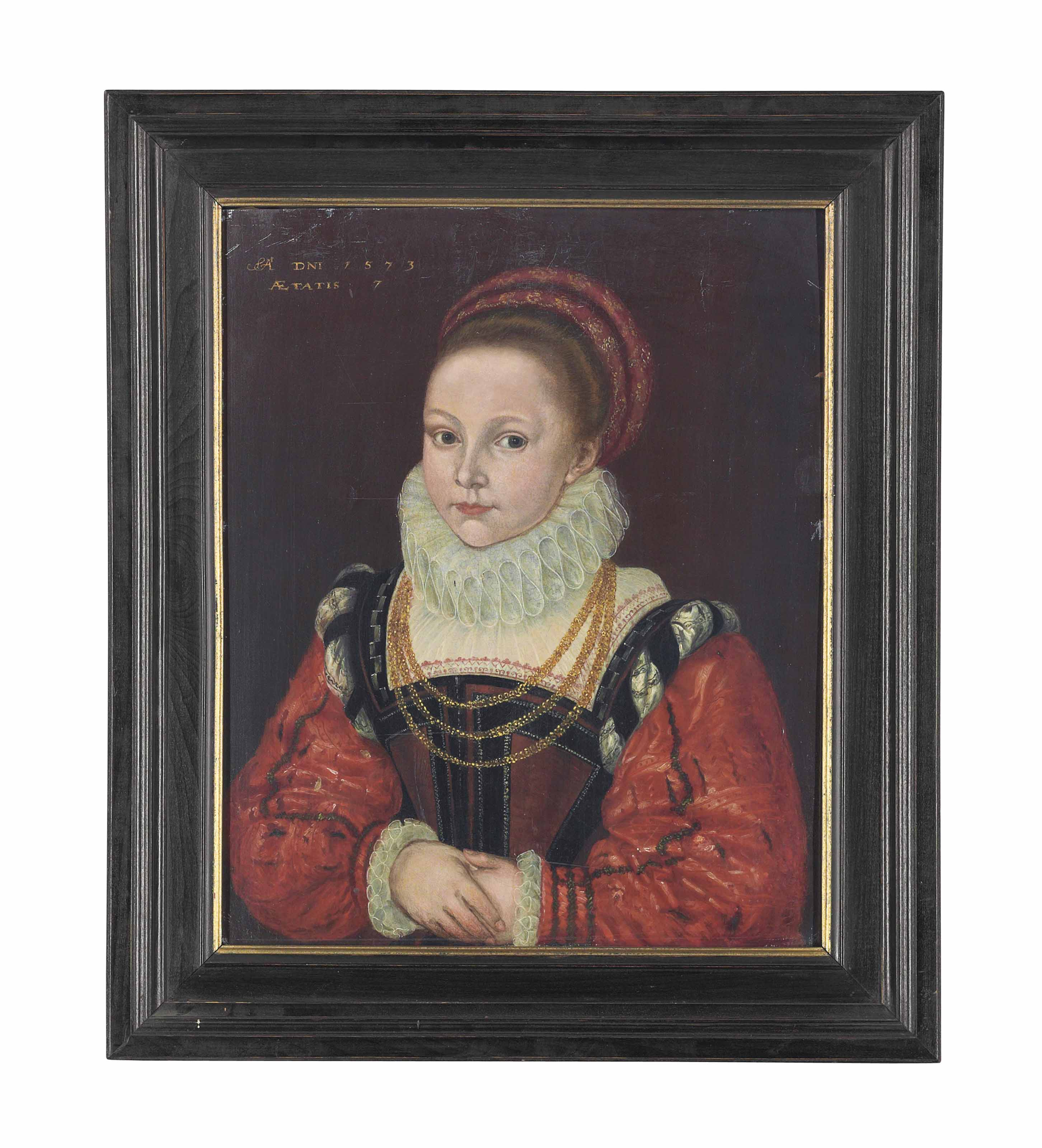 Portrait of Elizabeth Smythe, aged 7, half-length, in a brown and black dress with red sleeves, a ruff, a red headdress, and a gold chain