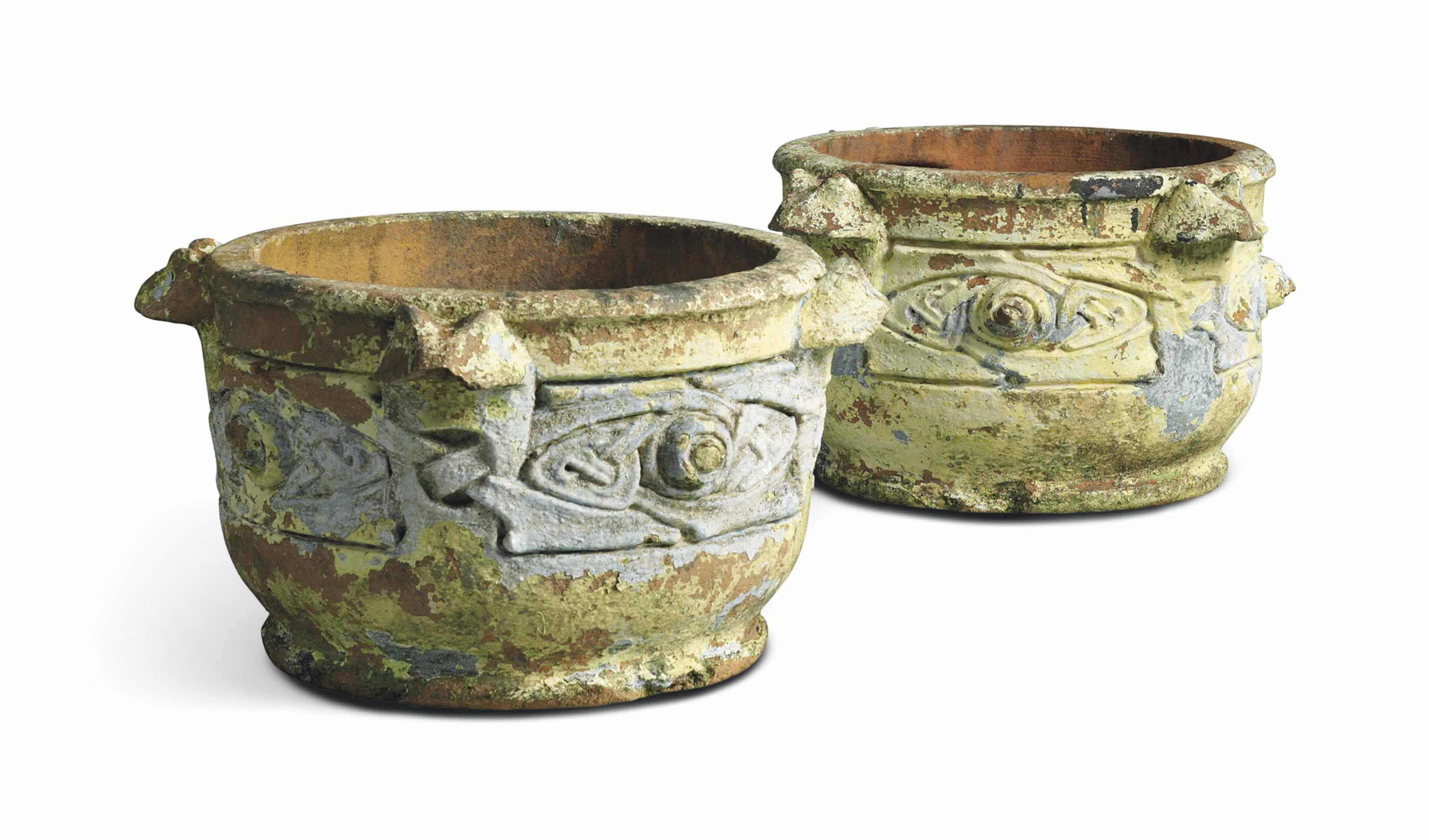 A PAIR OF PAINTED COMPTON POTTERY TERRACOTTA URNS