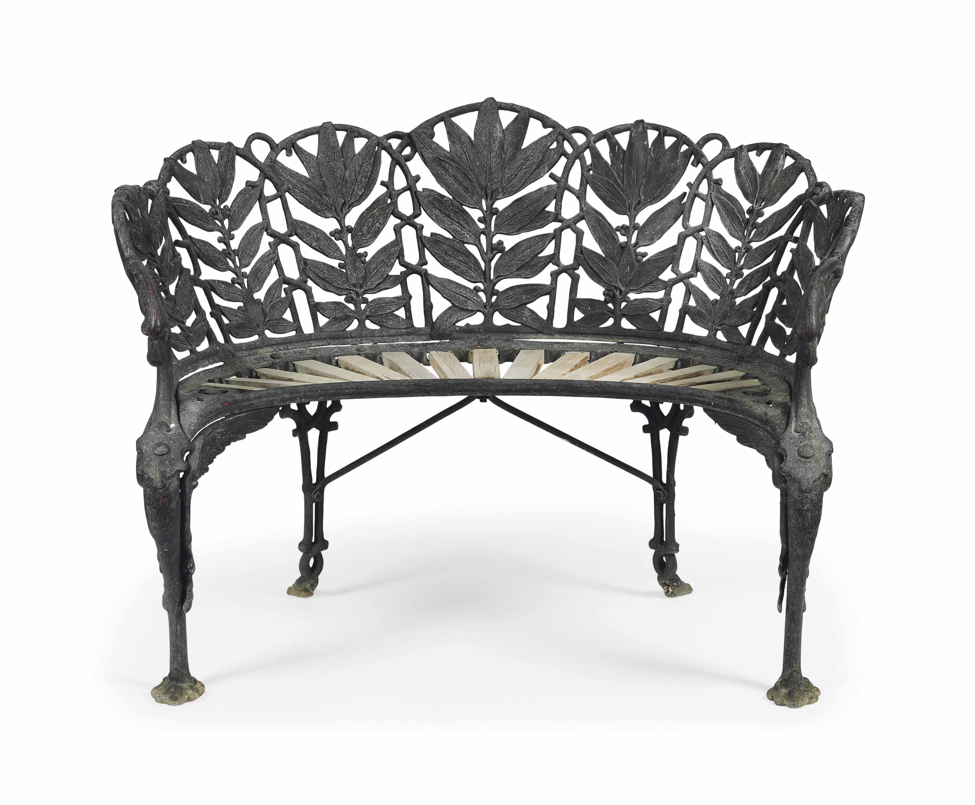 A VICTORIAN PAINTED CAST-IRON 'LAURAL' PATTERN SEAT