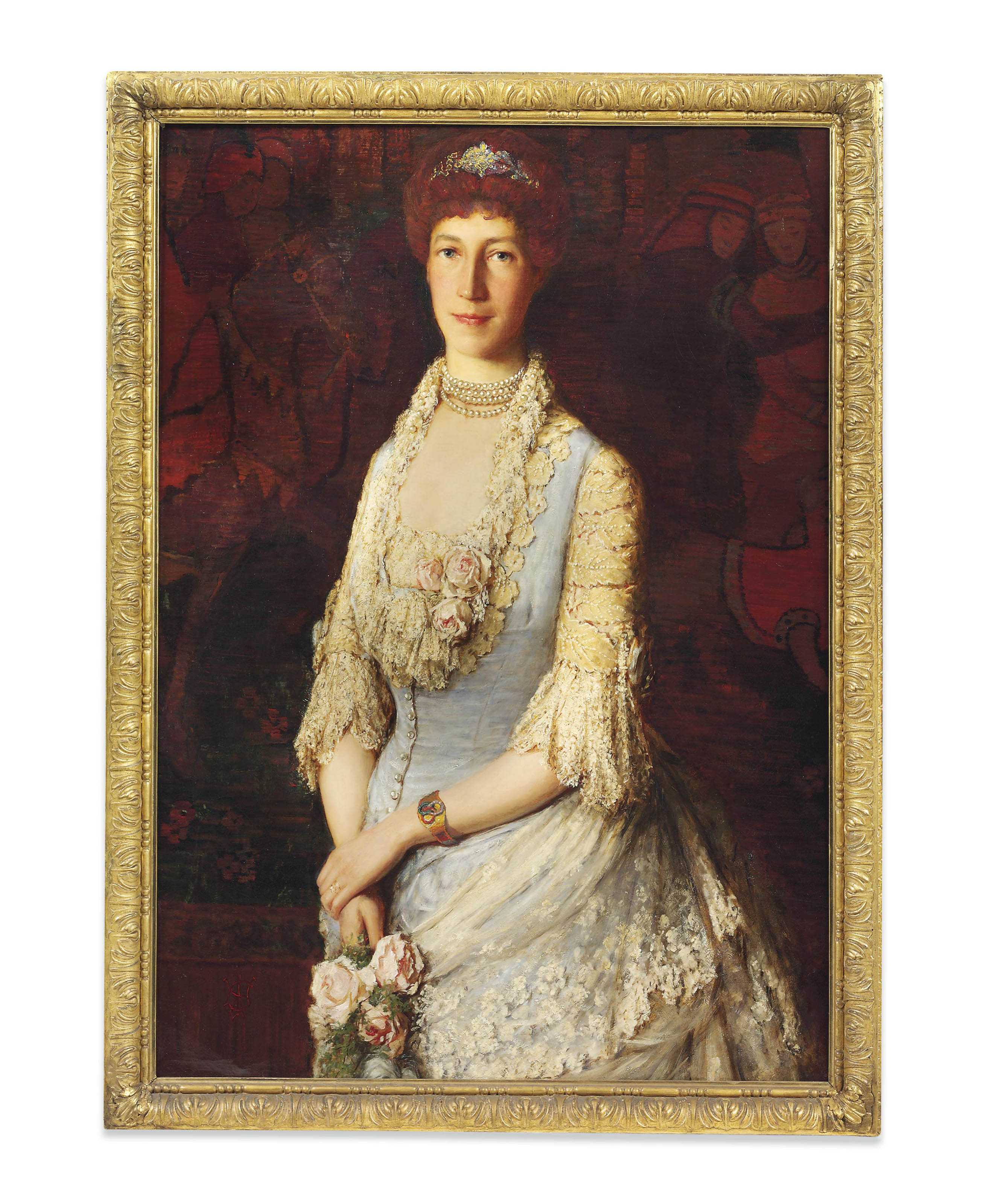 Portrait of a lady, said to be Lady Singer, half-length, in a white lace dress, holding roses