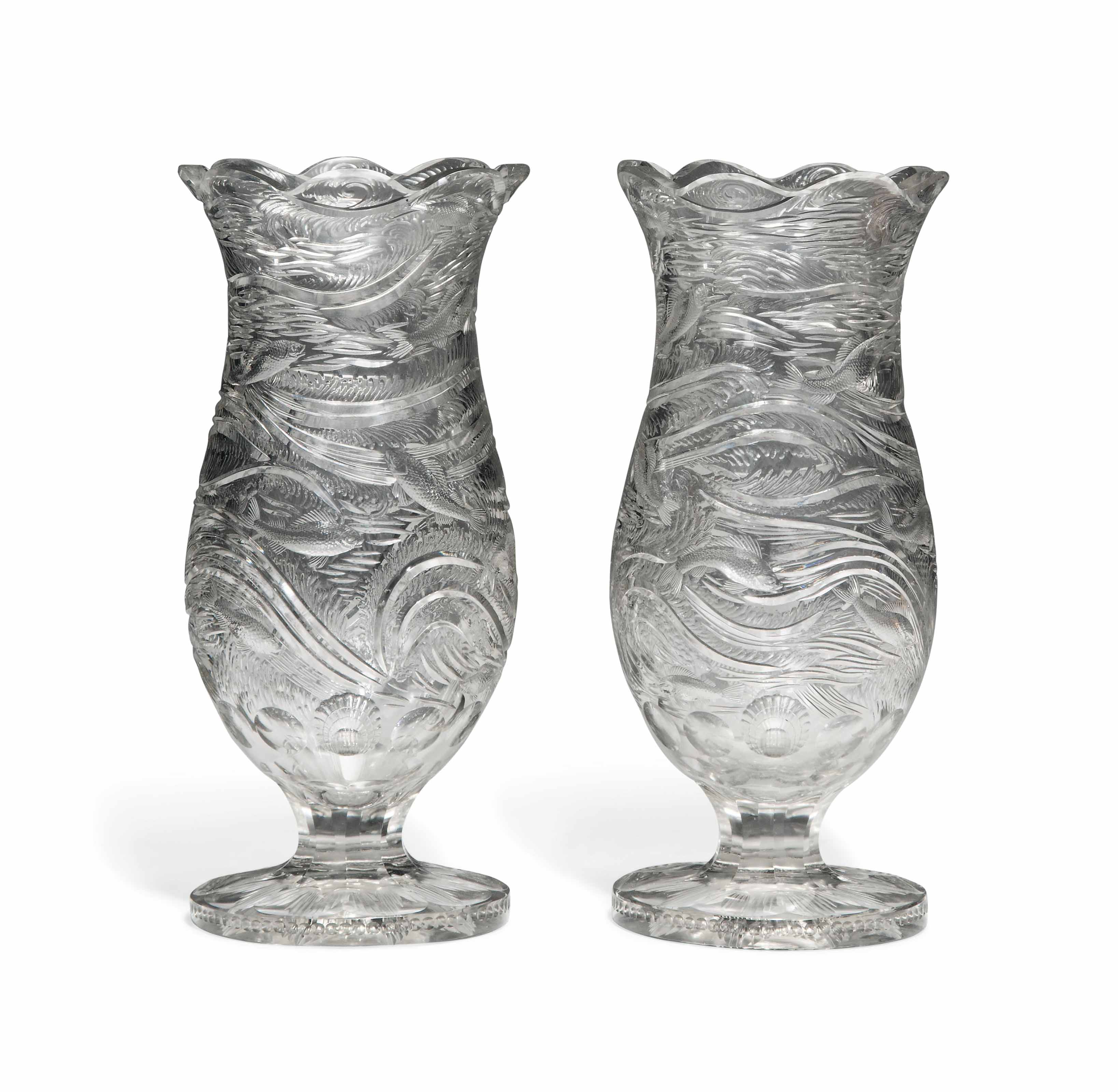 A PAIR OF ENGLISH CUT-GLASS 'ROCK CRYSTAL' VASES