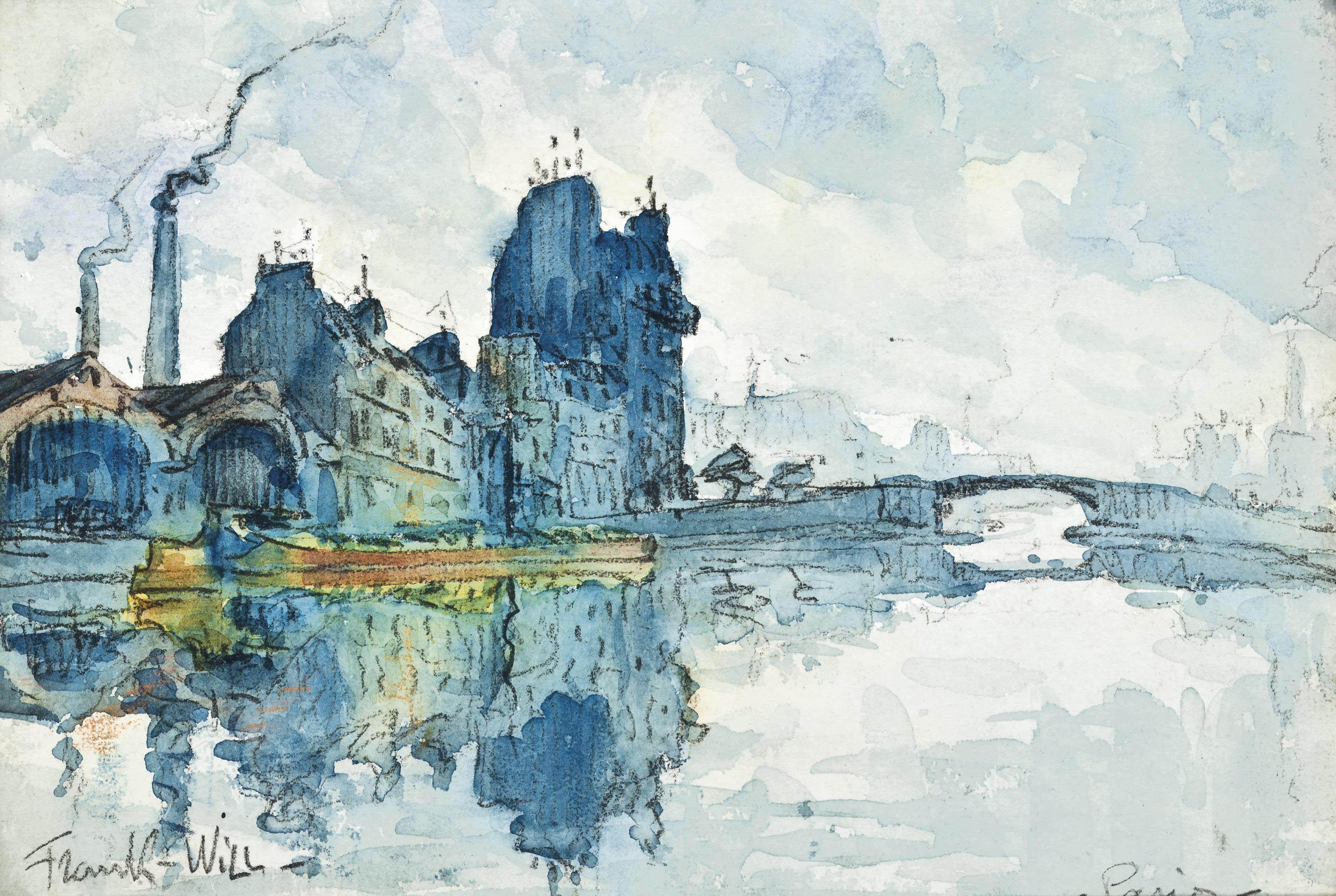 A barge on the Seine, Paris