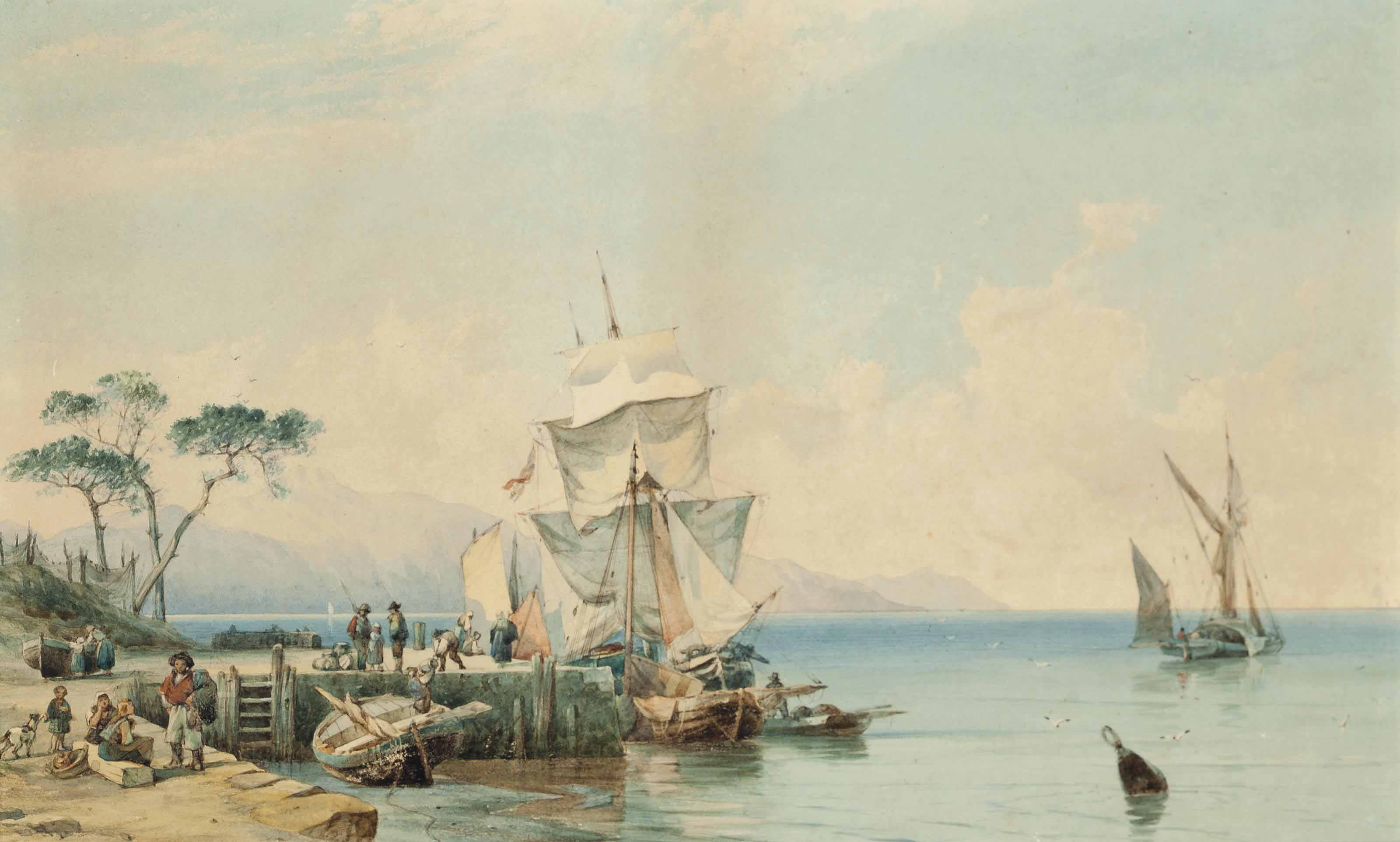Trading vessels moored alongside a Mediterranean quay with figures loading barrels in the foreground