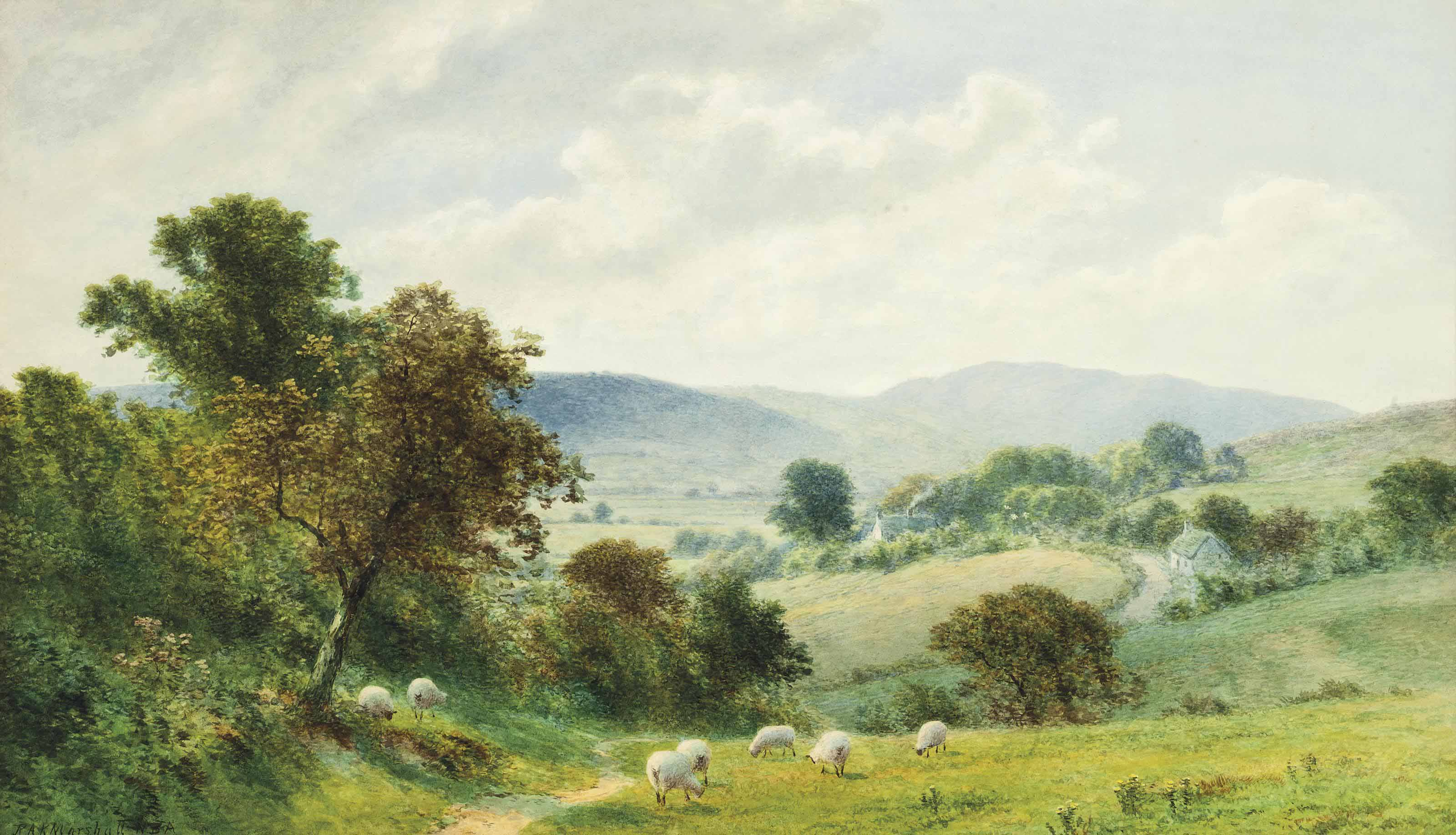 Sheep grazing in a Welsh landscape (illustrated); and Near Llangattock, South Wales