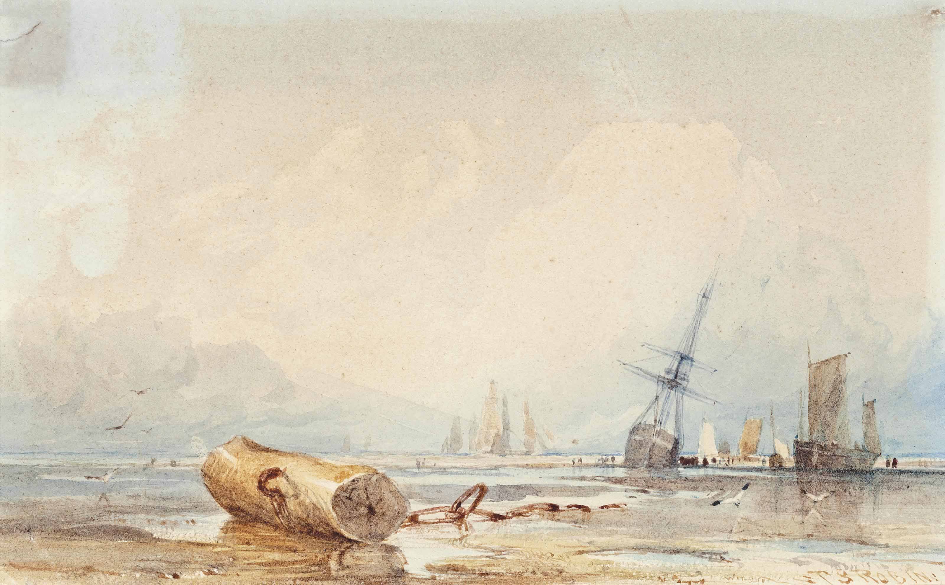 Sailing vessels on the shore at low tide