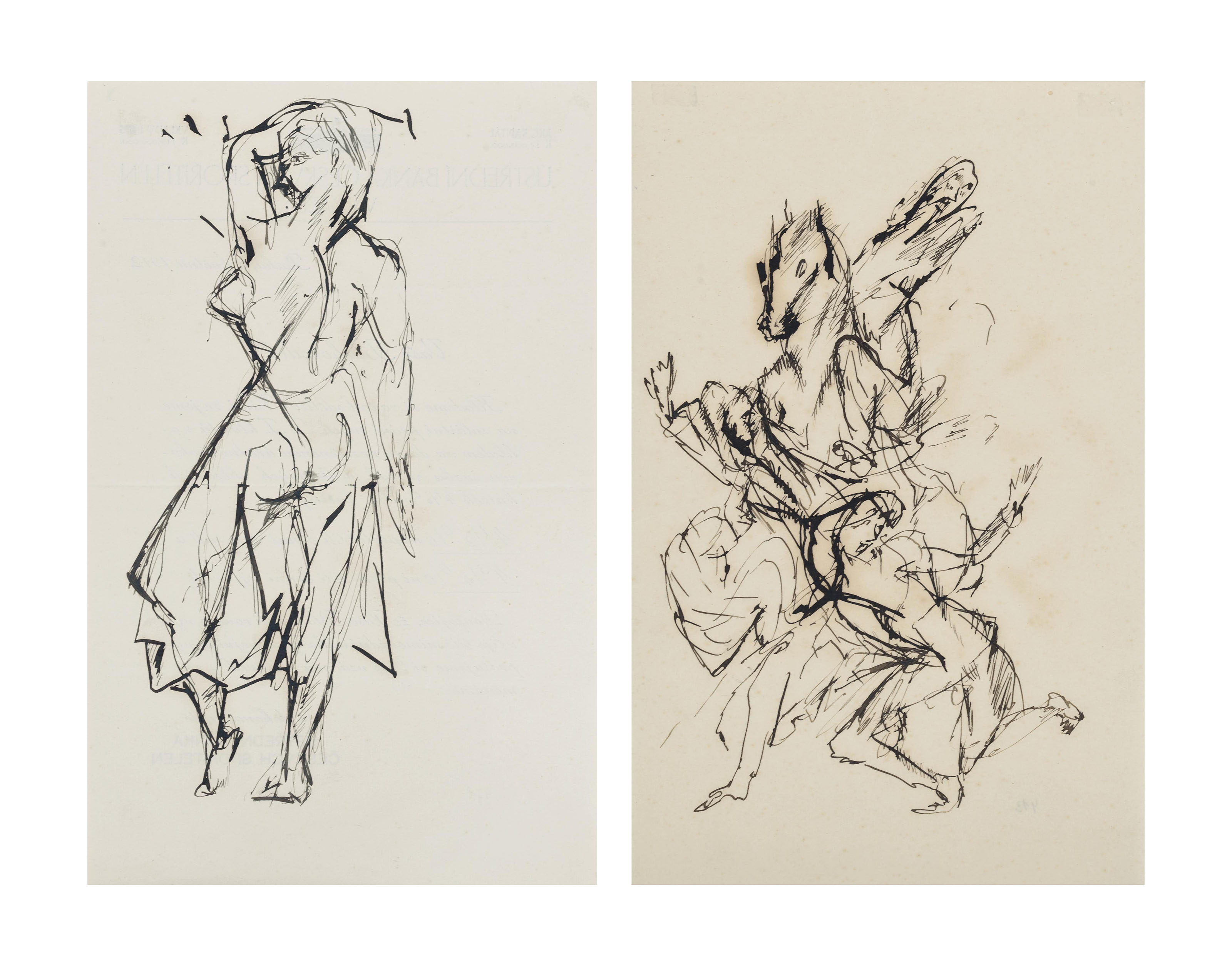 Standing Woman and Running Woman and Horse