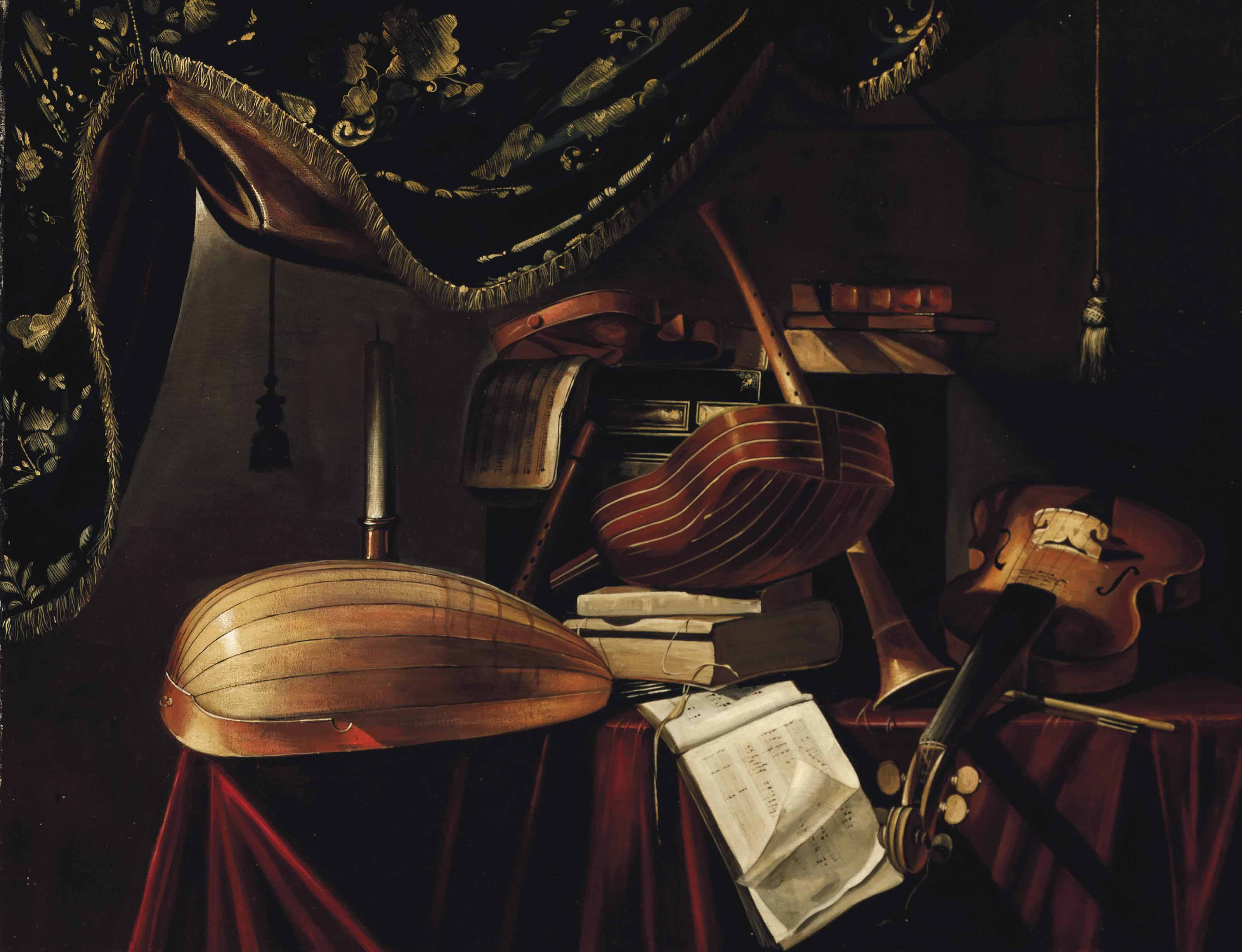 A mandolino, a lute, a violin, a guitar, a clarinet and musical manuscripts on a draped table in an interior