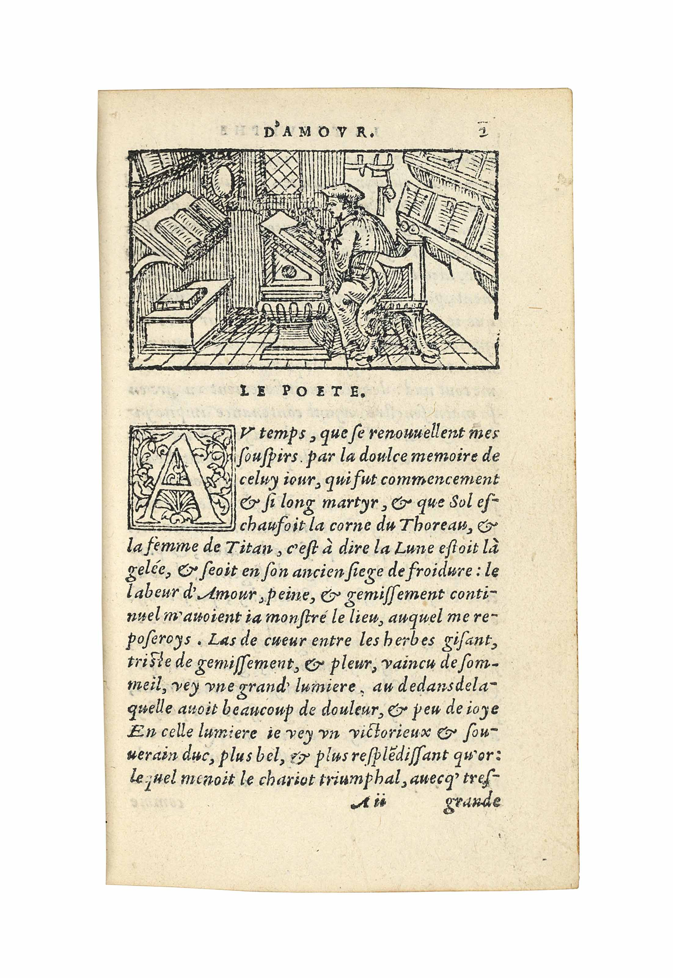 PETRARCA, Francesco (1304-74). Les triumphes Pétrarque. Paris: Groulleau, 1554. 16° (115 x 70mm). Italic type. Woodcut device on verso of title, at beginning of each chapter and at end, 144 woodcuts (30 x 53mm), some repeated. (Small marginal repair to K3.) Red morocco by Trautz-Bauzonnet, gilt supralibros, gilt spine-lettering, turn-ins and edges. Provenance: Edouard Rahir (morocco label) -- another unidentified armorial label -- purchased from L. Giraud-Badin, 1931.