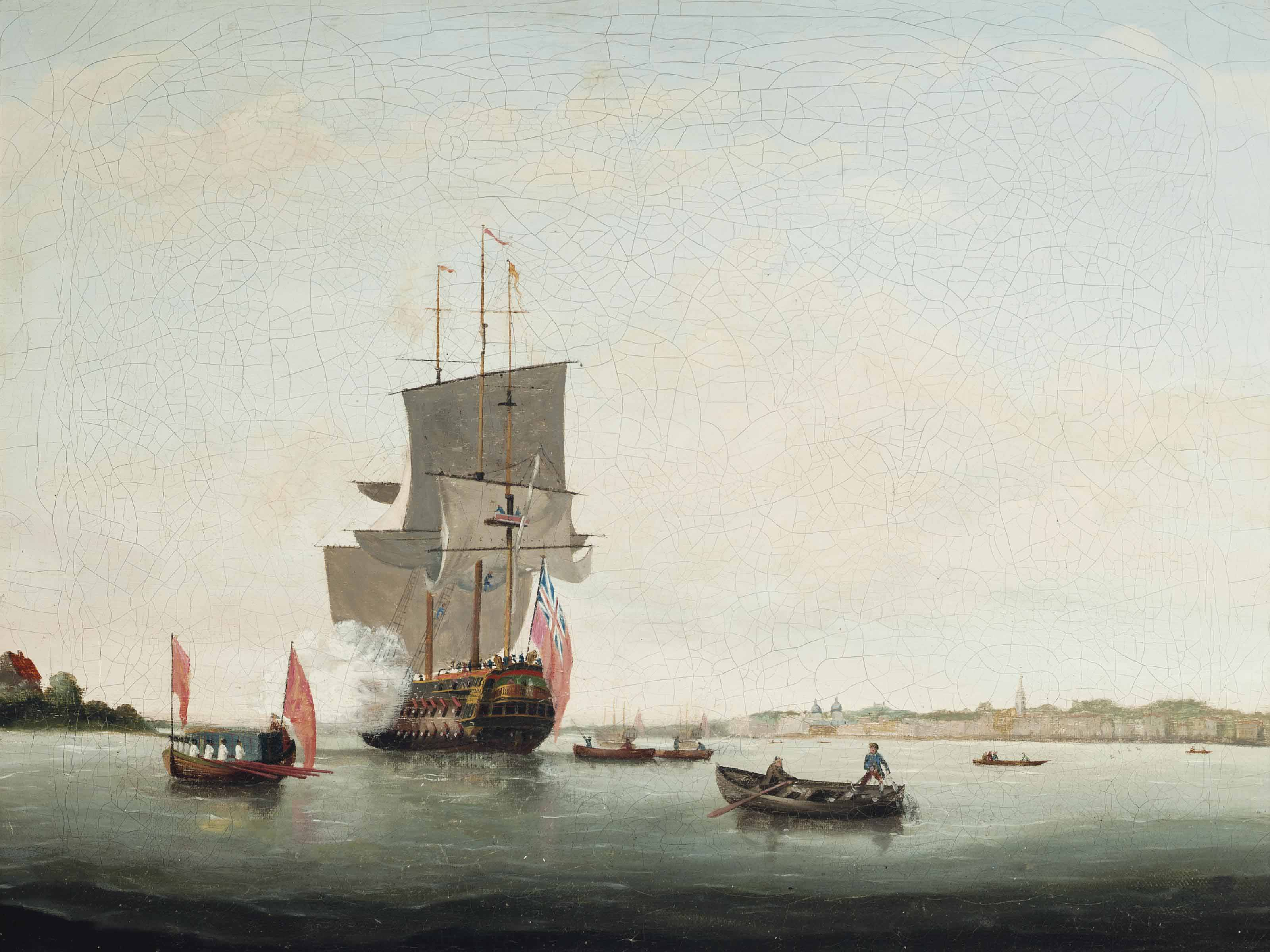 A British man-o'war saluting her departure from her anchorage on the Thames at Greenwich