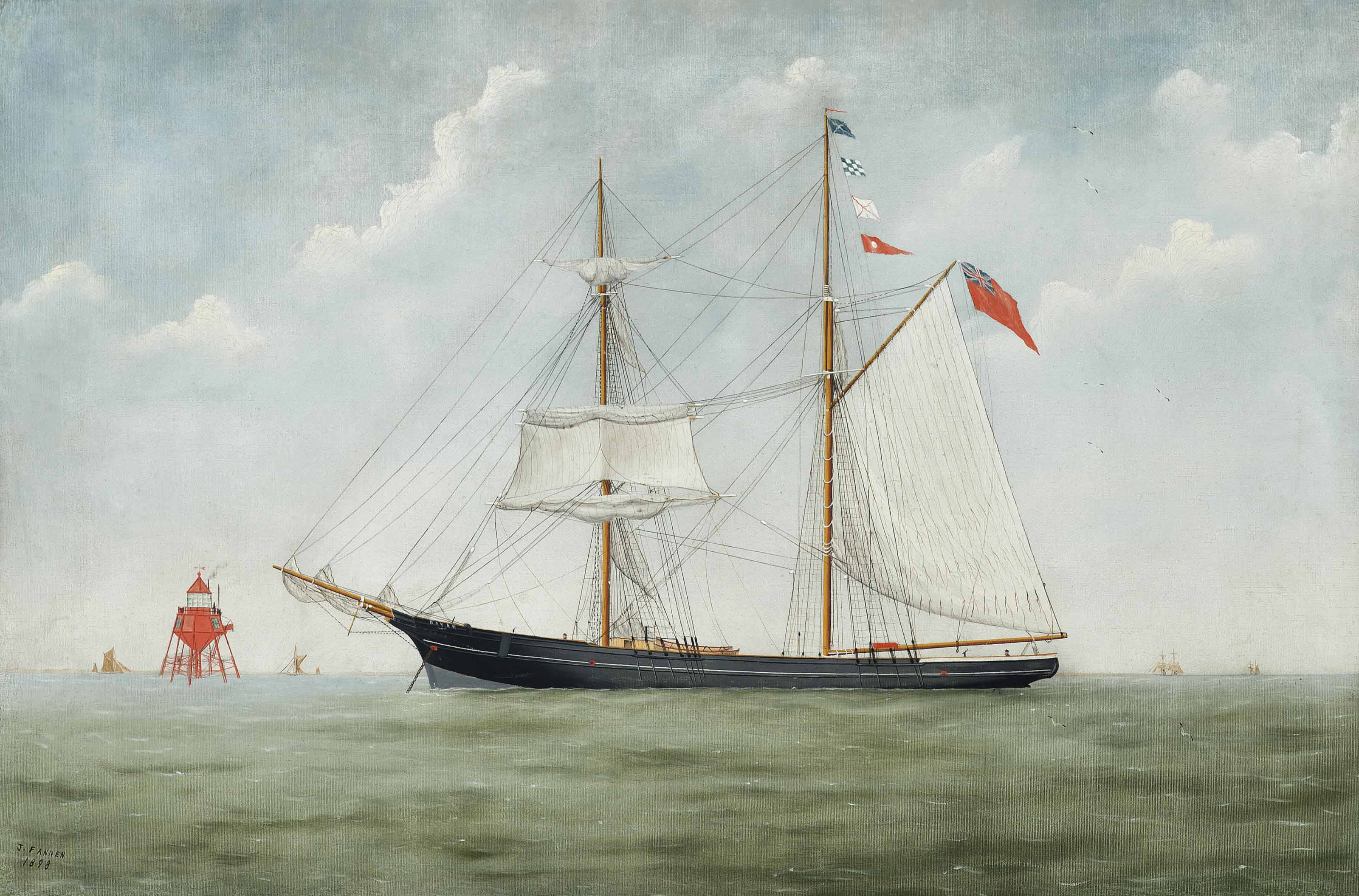 The British topsail schooner Raven anchored off a red lighthouse