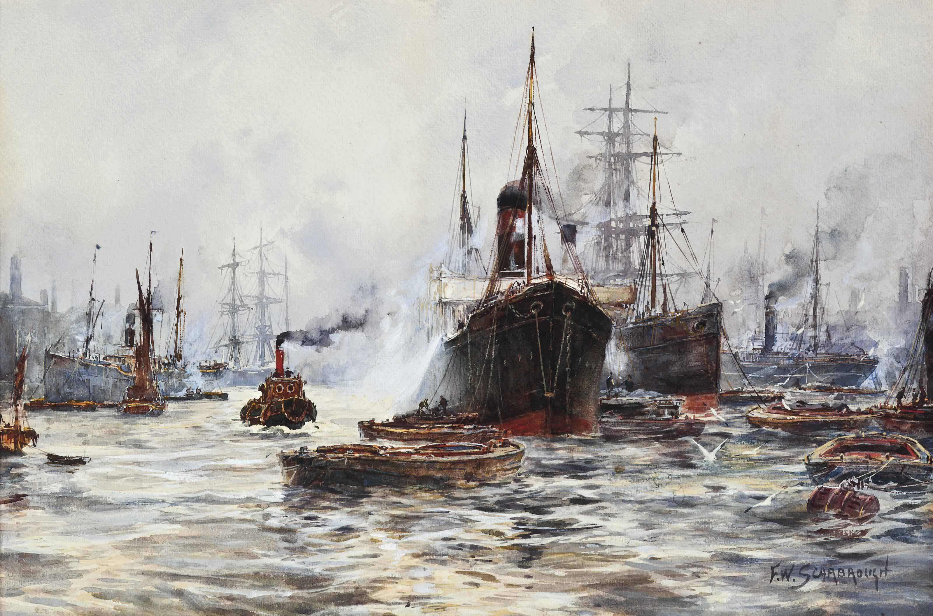 A bustle of activity on the Thames, London