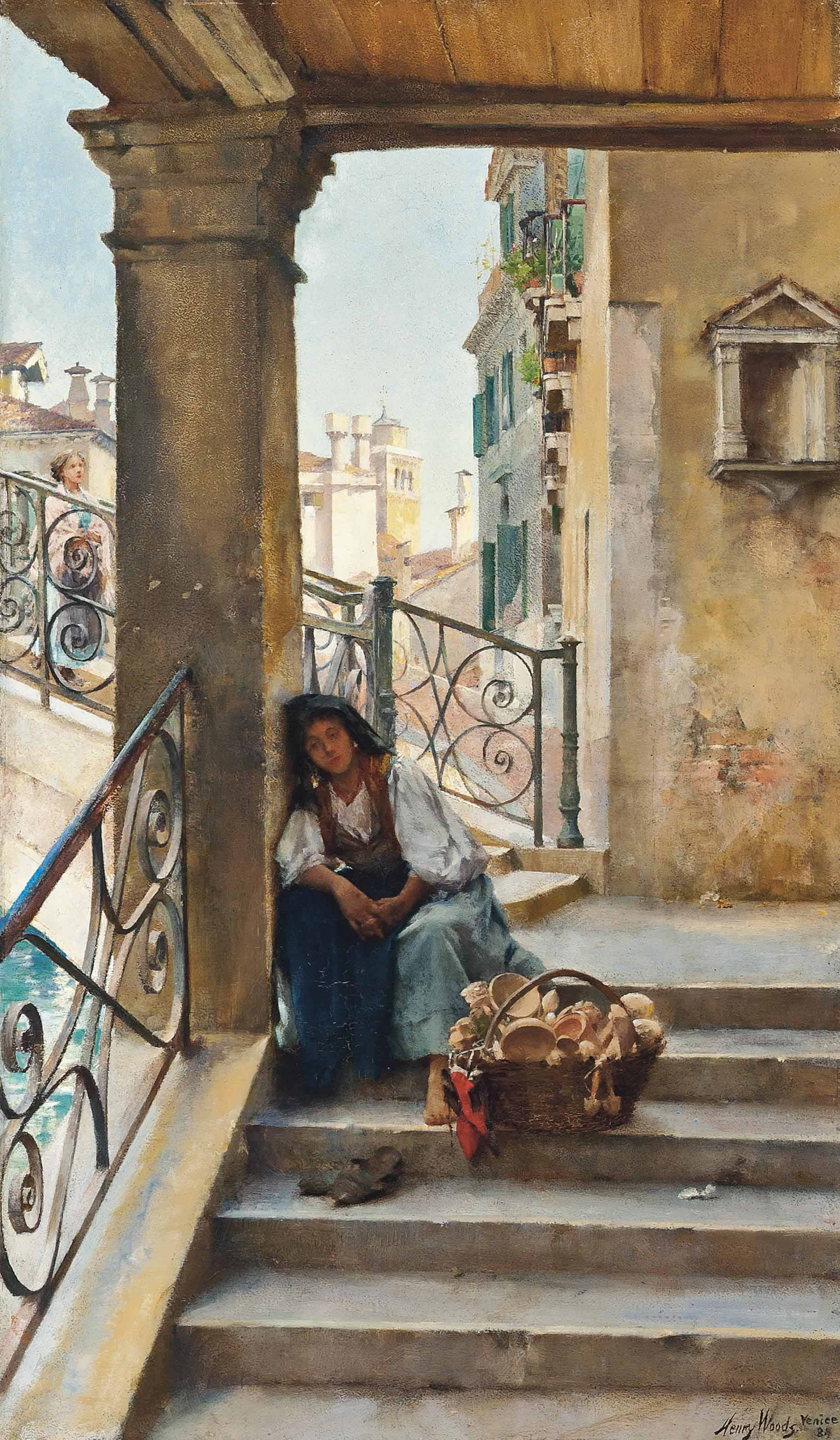 A rest on the steps, Venice