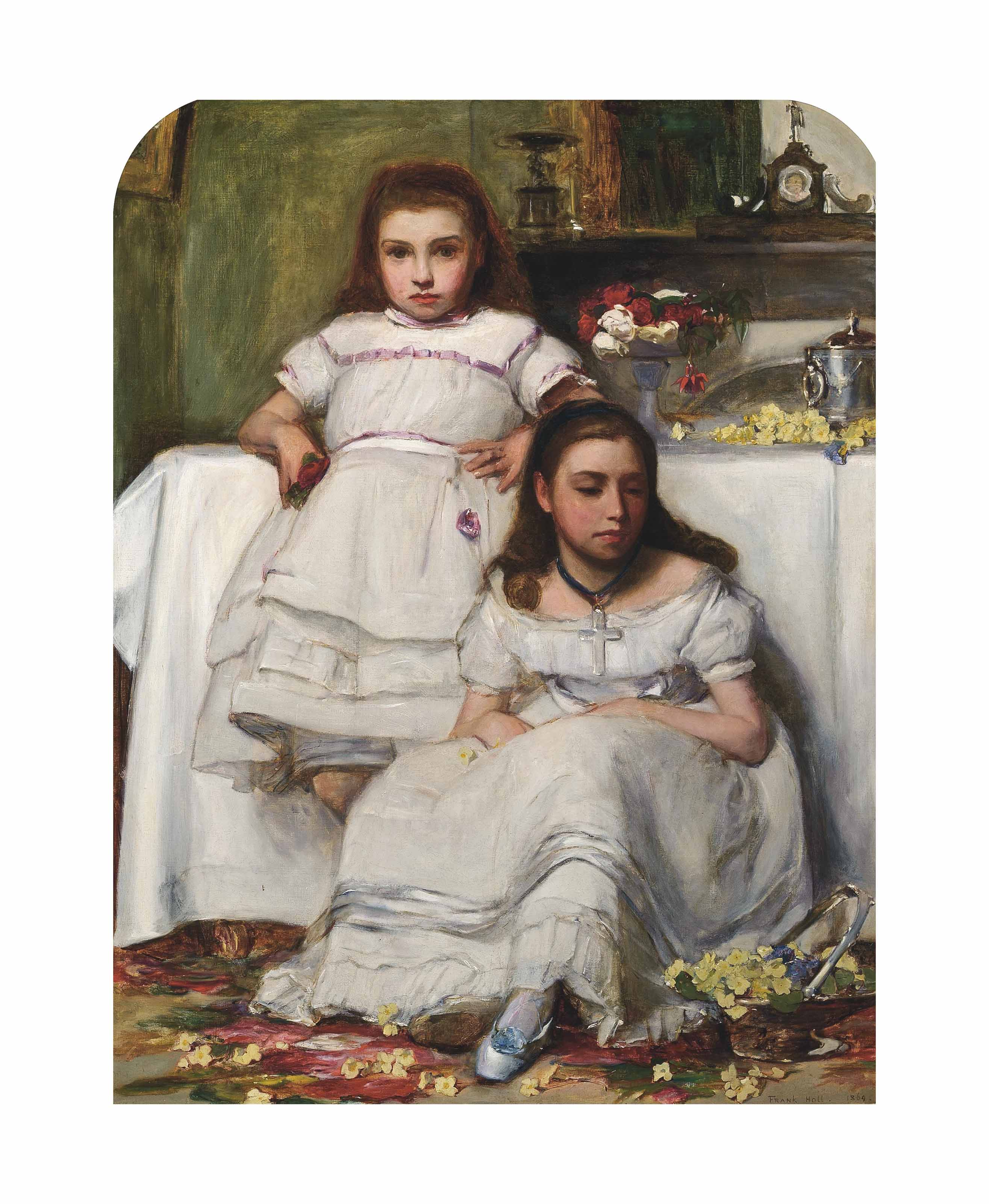 Portrait of two girls, dressed in white