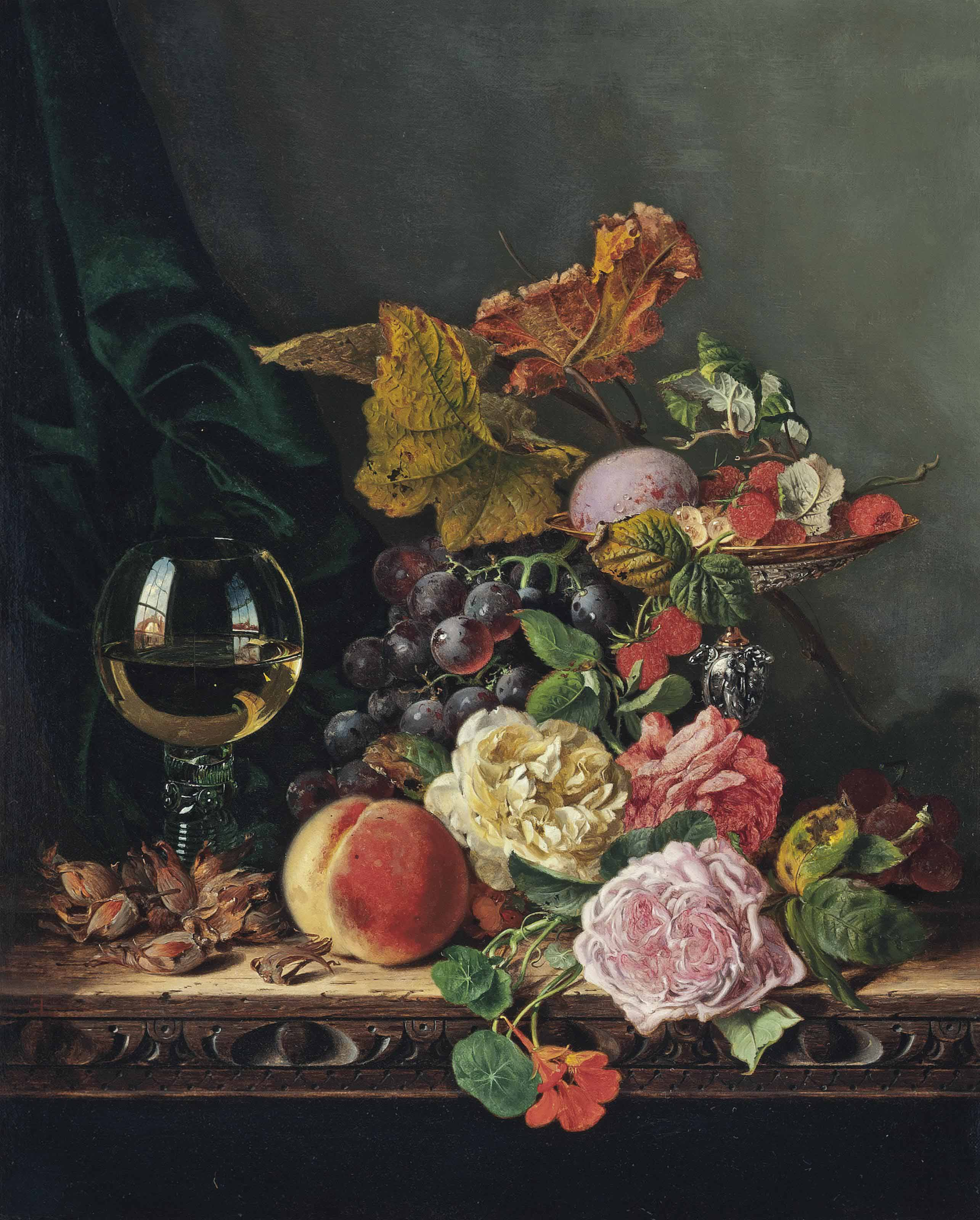 Cobnuts, a roemer, a peach, roses, nasturtiums, raspberries, a speckled egg, black grapes, white currants, and a tazza, on a carved wooden ledge