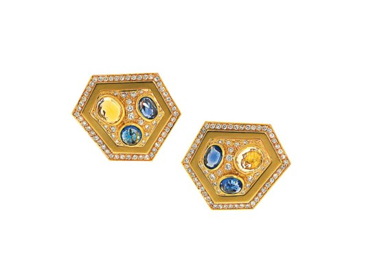 A pair of vari-coloured sapphi