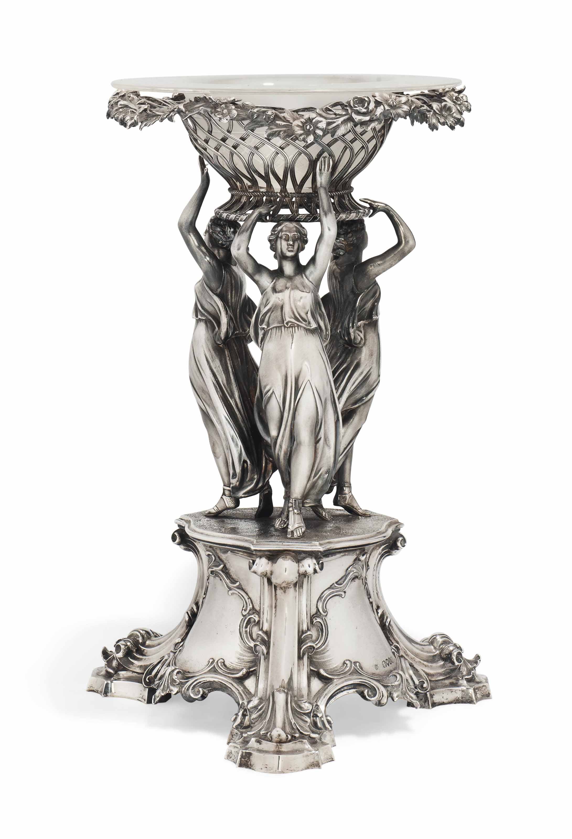 A VICTORIAN SILVER CENTREPIECE COMPORT STAND