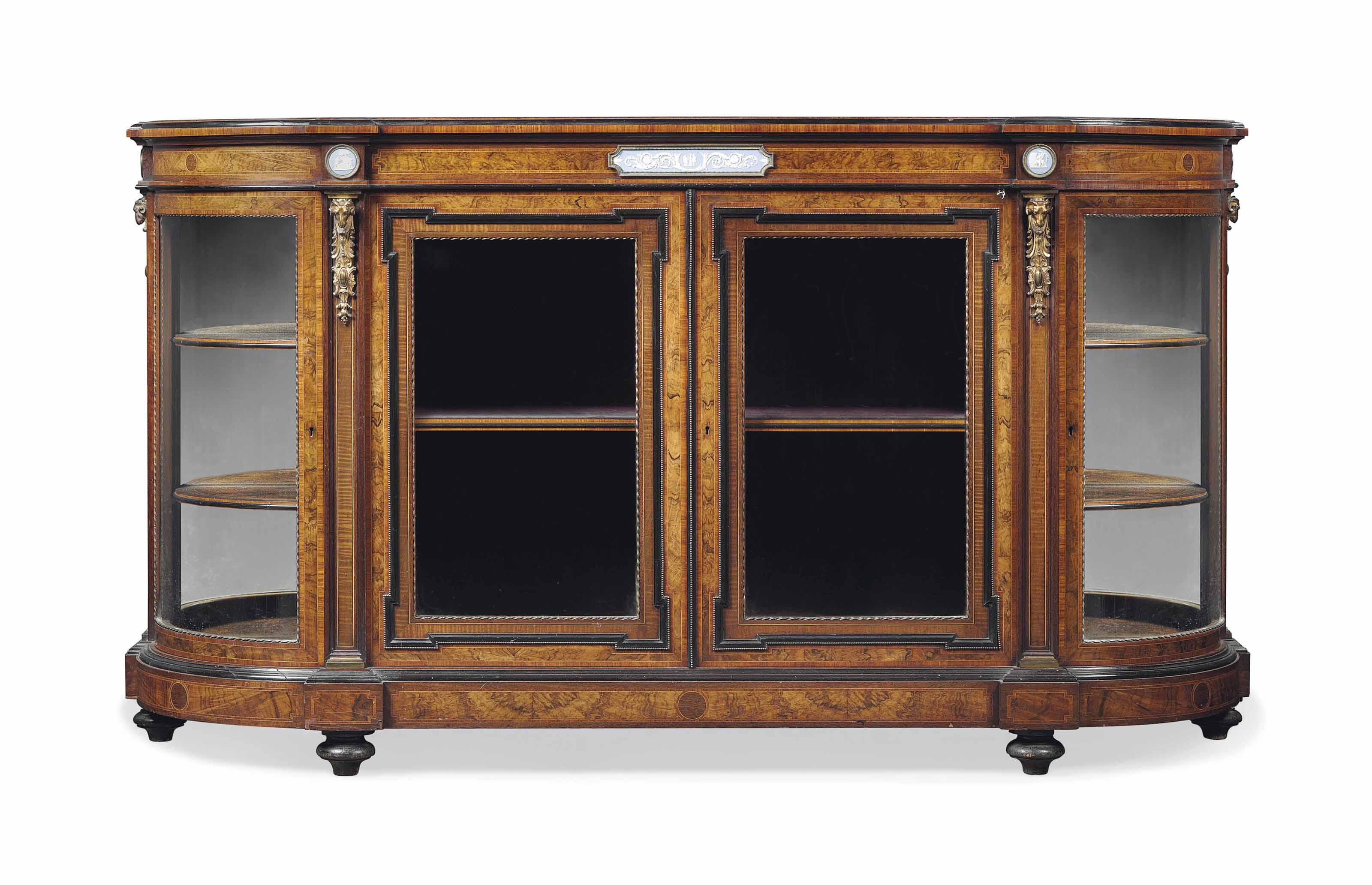 A VICTORIAN GILT-BRONZE MOUNTED BURR WALNUT AND EBONISED CREDENZA