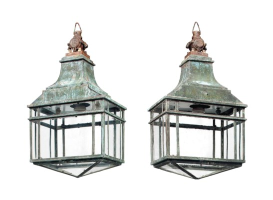 A PAIR OF ENGLISH COPPER LANTE