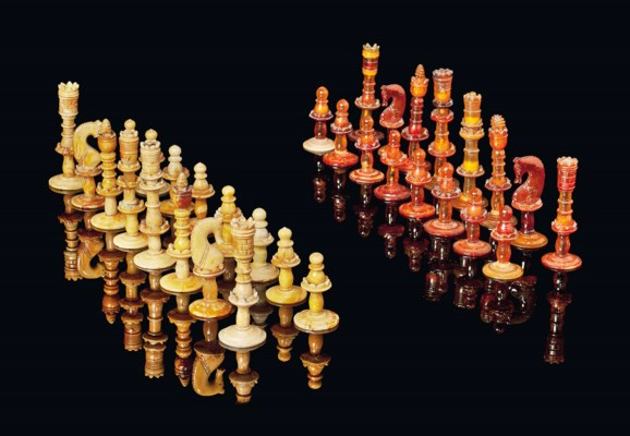 A GERMAN AMBER CHESS SET