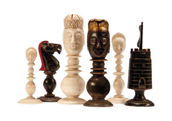 A CHINESE-EXPORT IVORY AND HOR