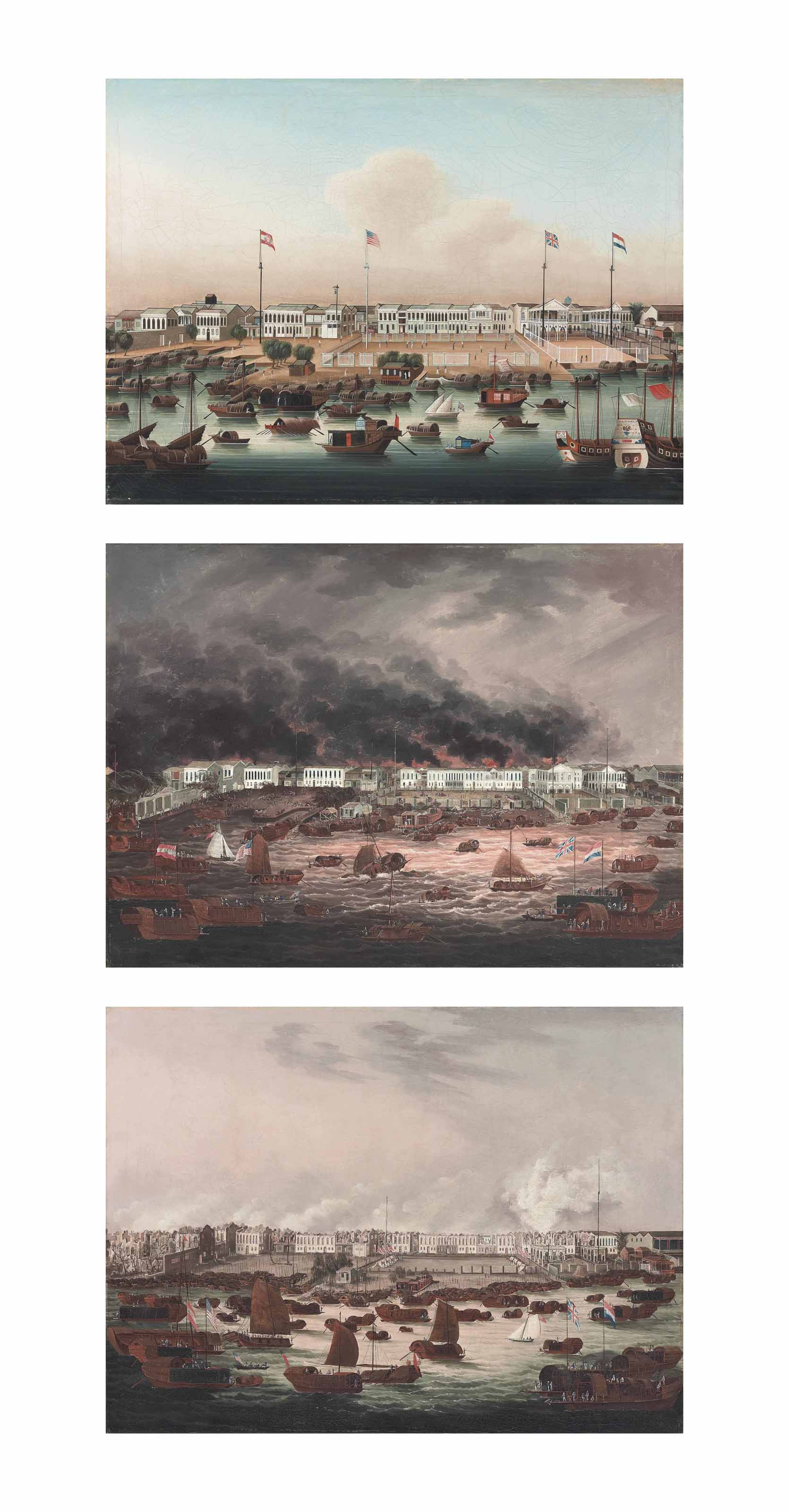 The Hongs at Canton shortly before the fire of 1822; The Hongs at Canton during the Great Fire of 1822; and The Hongs at Canton after the Great Fire of 1822