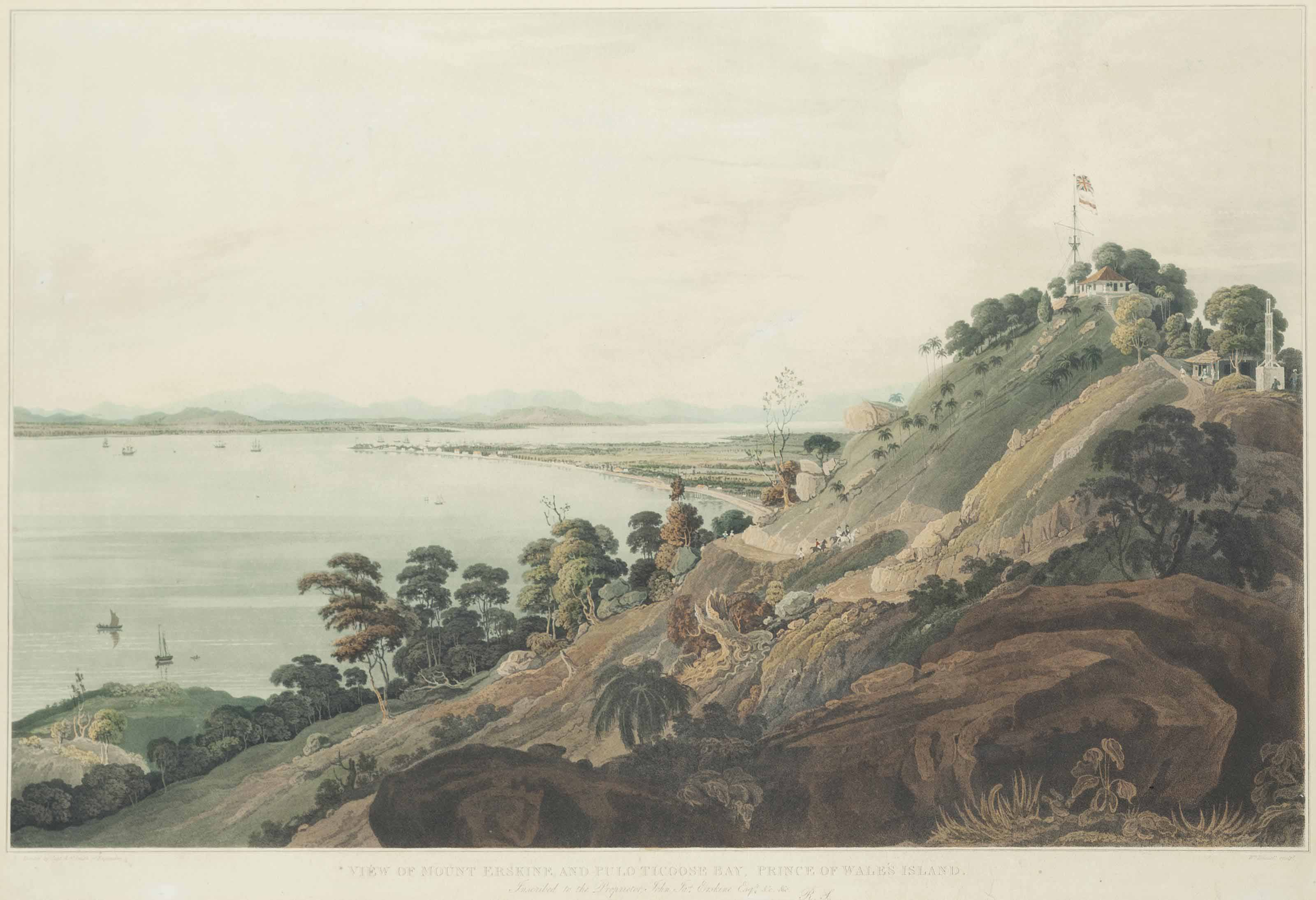 View from Halliburton's Hill, Prince of Wale's Island; View from the Convalescent Bungalow, Prince of Wale's Island; View of Mount Erskine and Pulo Ticoose Bay, Prince of Wale's Island