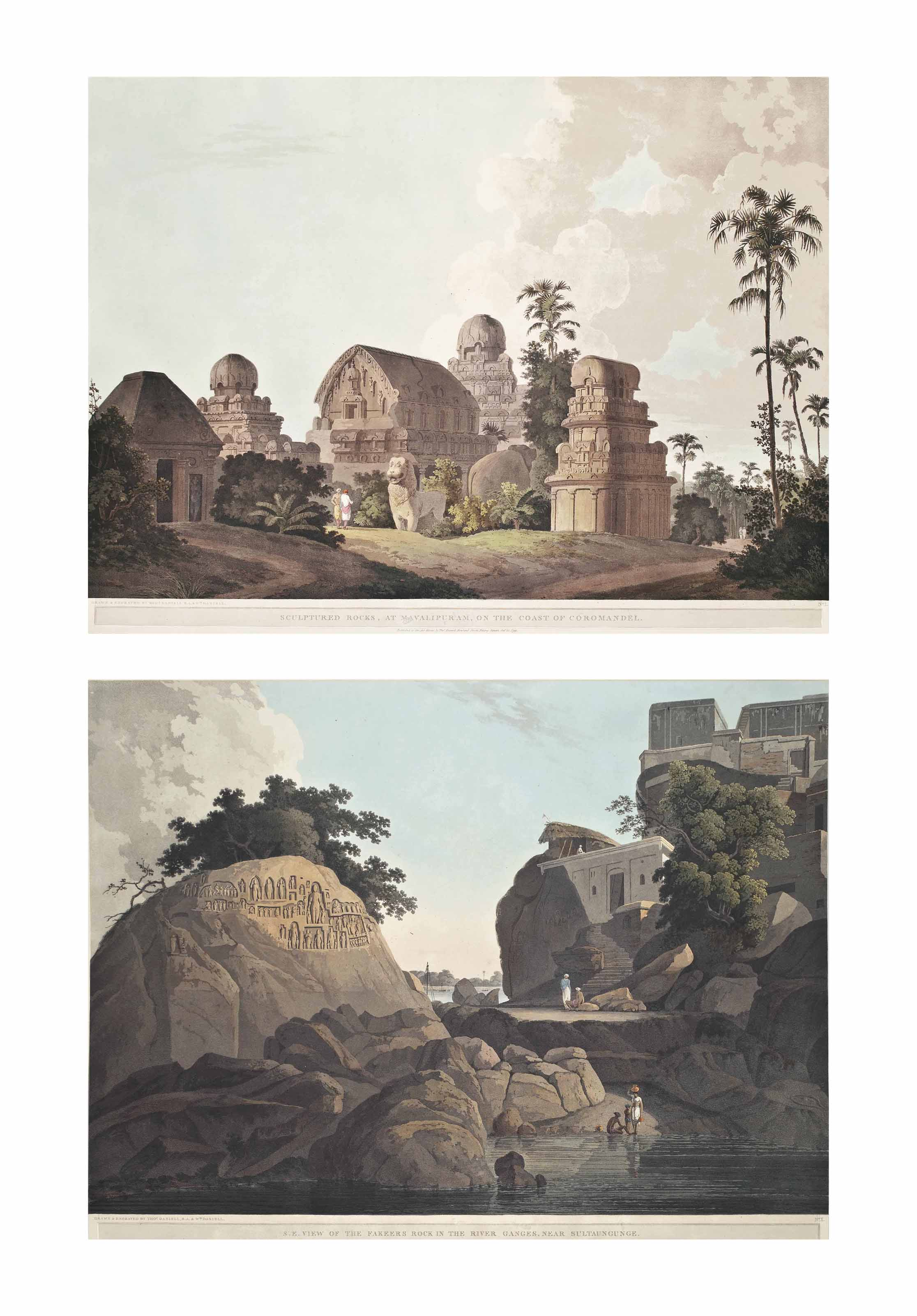 Sculptured Rocks, at Mavalipuram, on the Coast of Coromandel; The Entrance of an Excavated Hindoo Temple, at Mavalipuram; An Excavated Temple on the Island of Salsette; The Portico of an Excavated Temple on the Island of Salsette; An Hindoo Temple, at Deo, in Bahar; Part of the Interior of an Hindoo Temple, at Deo, in Bahar; The Entrance to the Elephanta Cave; Part of the Interior of the Elephanta; S.W. View of the Fakeers Rock in the River Ganges, near Sultaungunge; S.E. View of the Fakeers Rock in the River Ganges, near Sultaungunge; Part of the Kanaree Caves, Salsette; and The Interior of an Excavated Hindoo Temple, on the Island of Salsette (Abbey Travel 420, pls. 52-63)