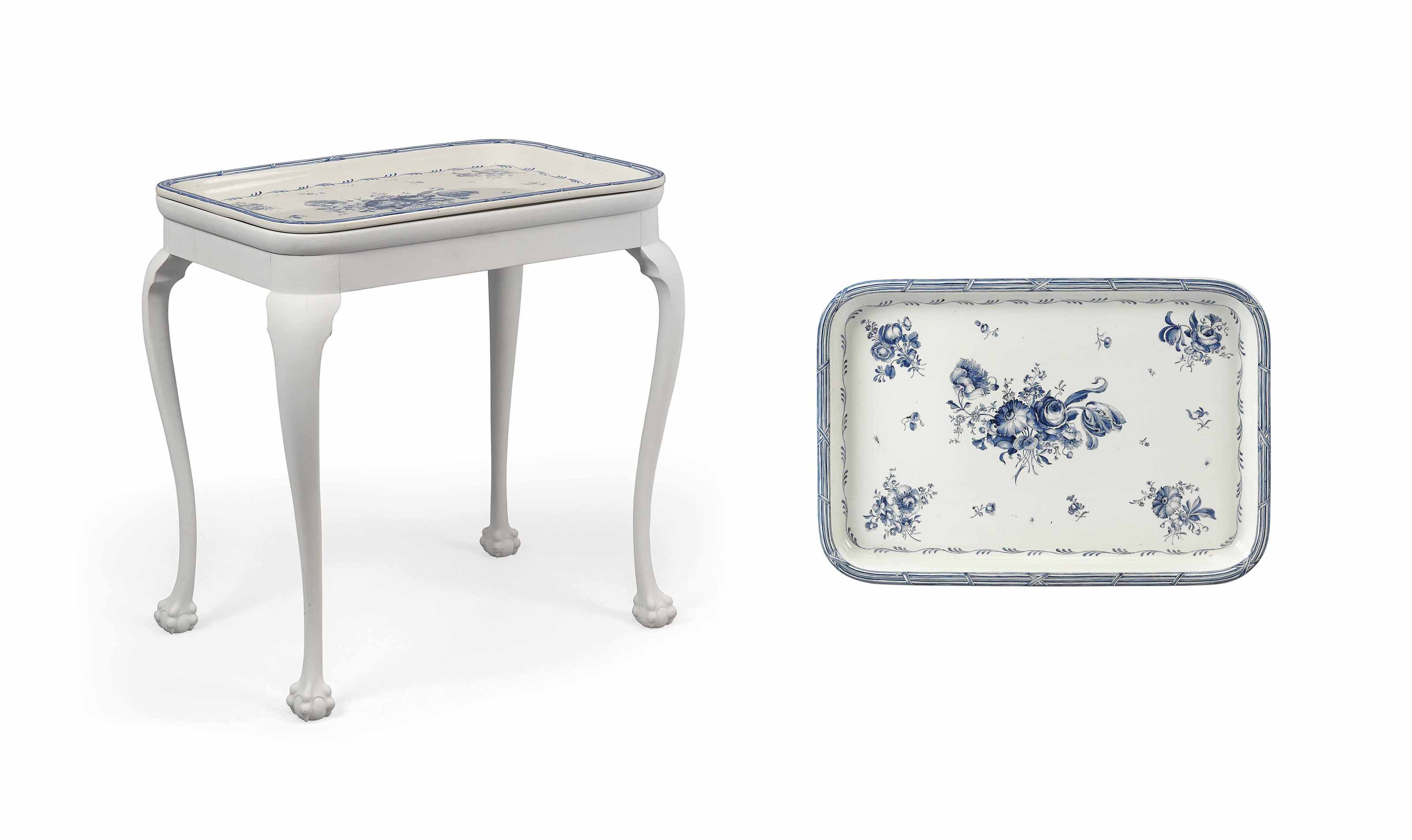A RORSTRAND EARTHENWARE LARGE RECTANGULAR TRAY ON PAINTED STAND