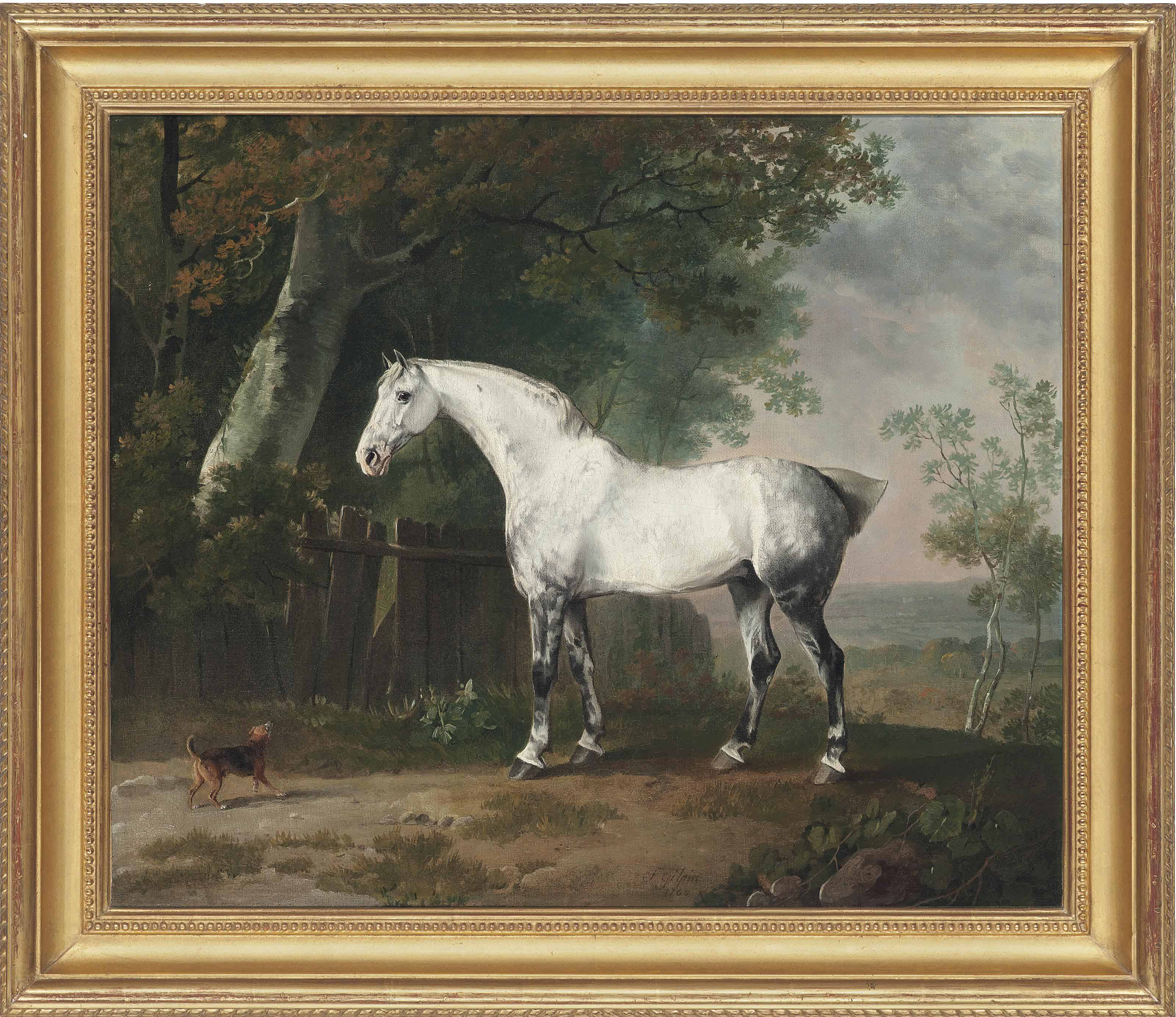 A grey horse and a spaniel in a landscape